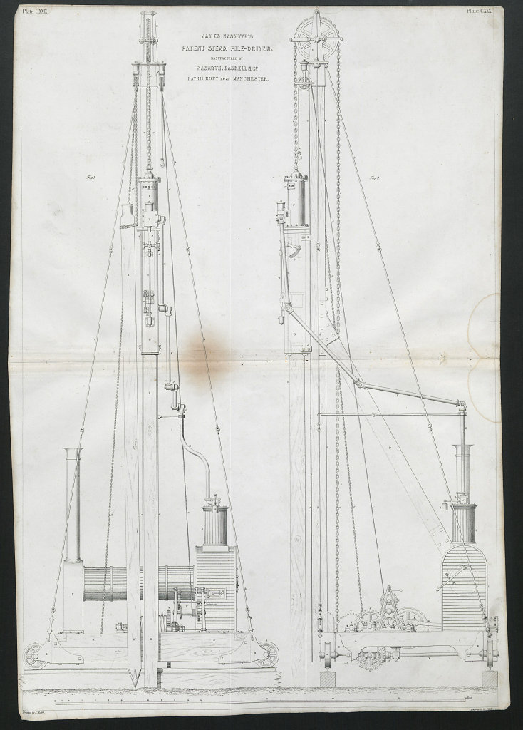 19C ENGINEERING DRAWING Patent steam pile-driver. James Nasmyth, Patricroft 1847