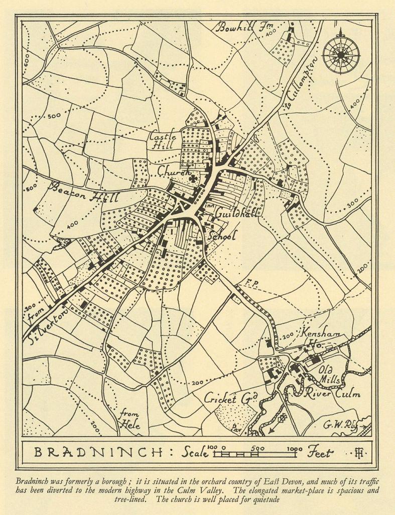 Town plan of BRADNINCH Devon by William Harding Thompson 1932 old vintage map