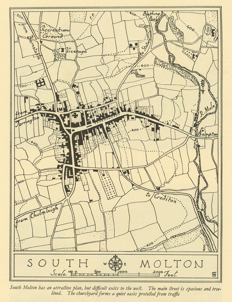 Town plan of SOUTH MOLTON Devon by William Harding Thompson 1932 old map