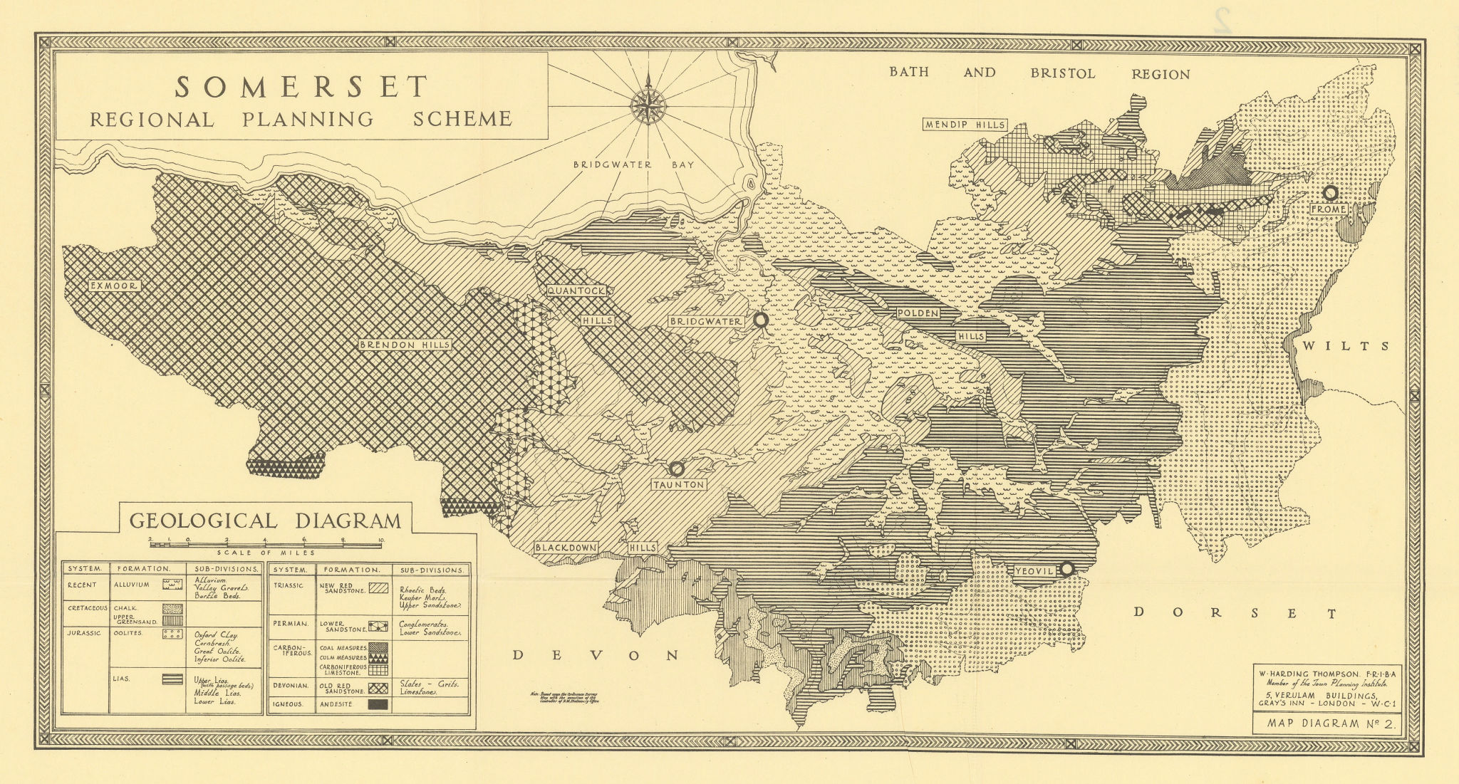 Somerset geological diagram by William Harding Thompson 1934 old vintage map