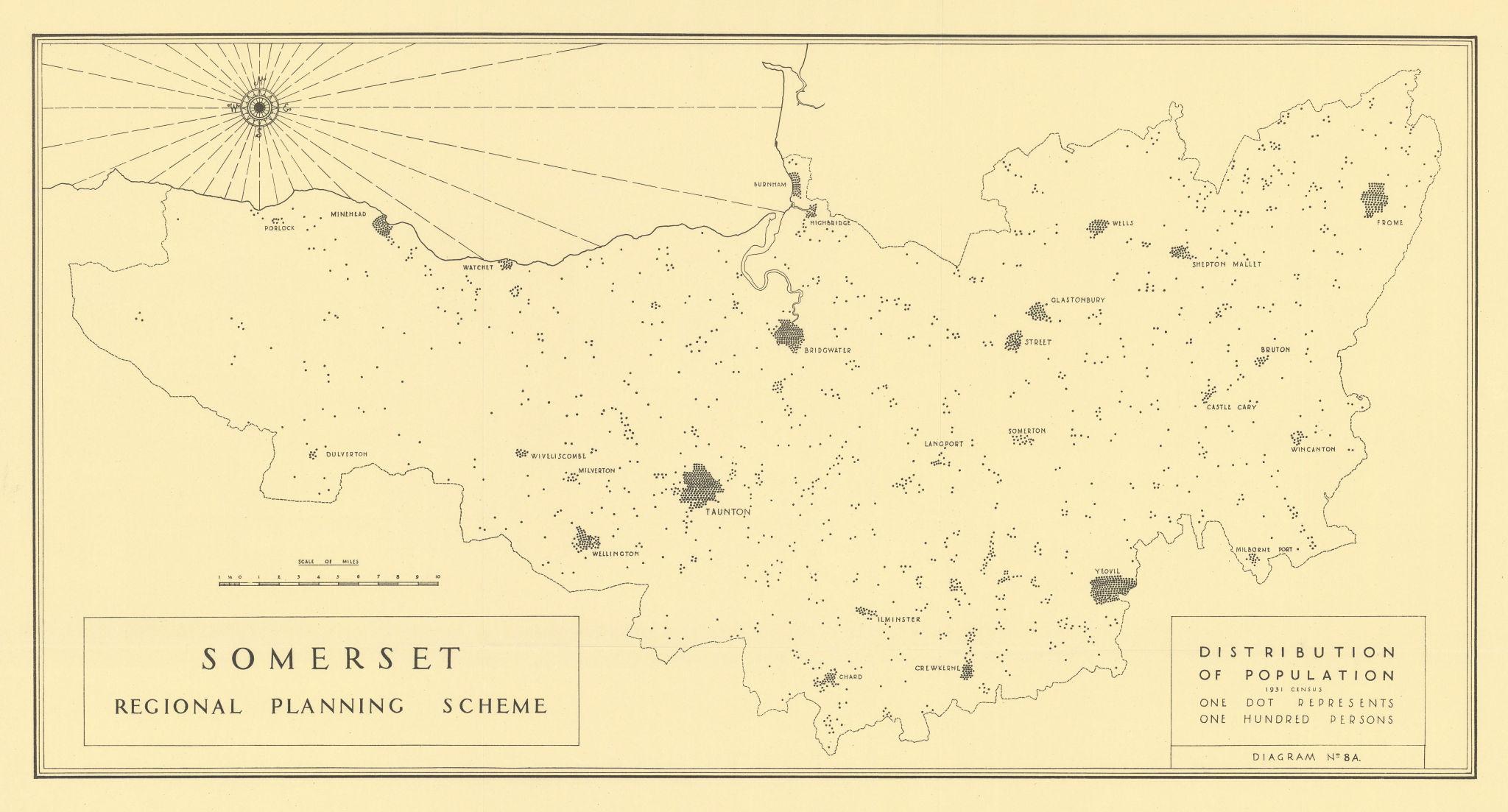 Somerset regional plann population distribution 1931 census. THOMPSON 1934 map