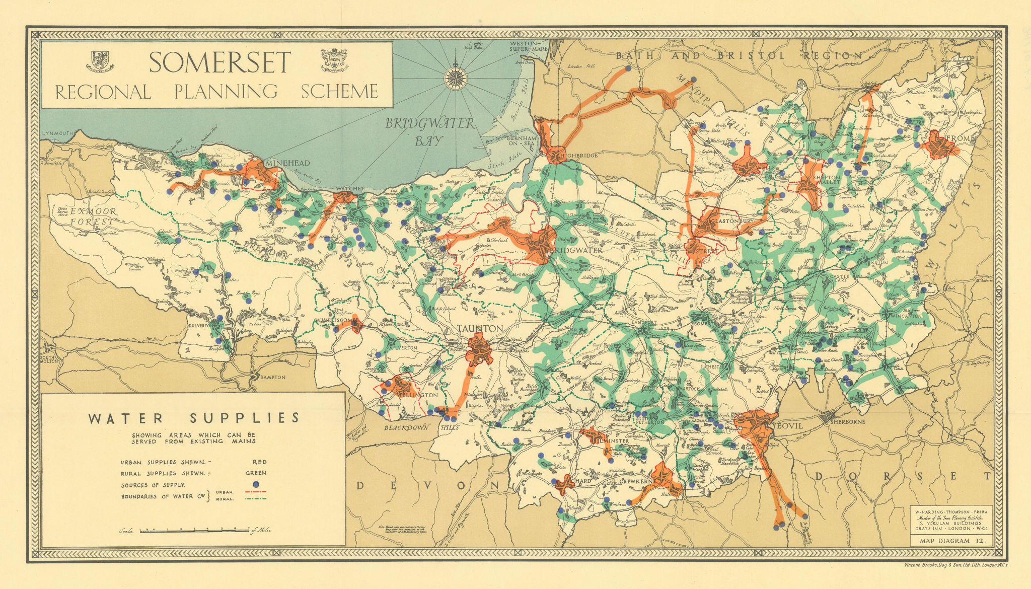 Somerset water mains supplies areas served by William Harding Thompson 1934 map