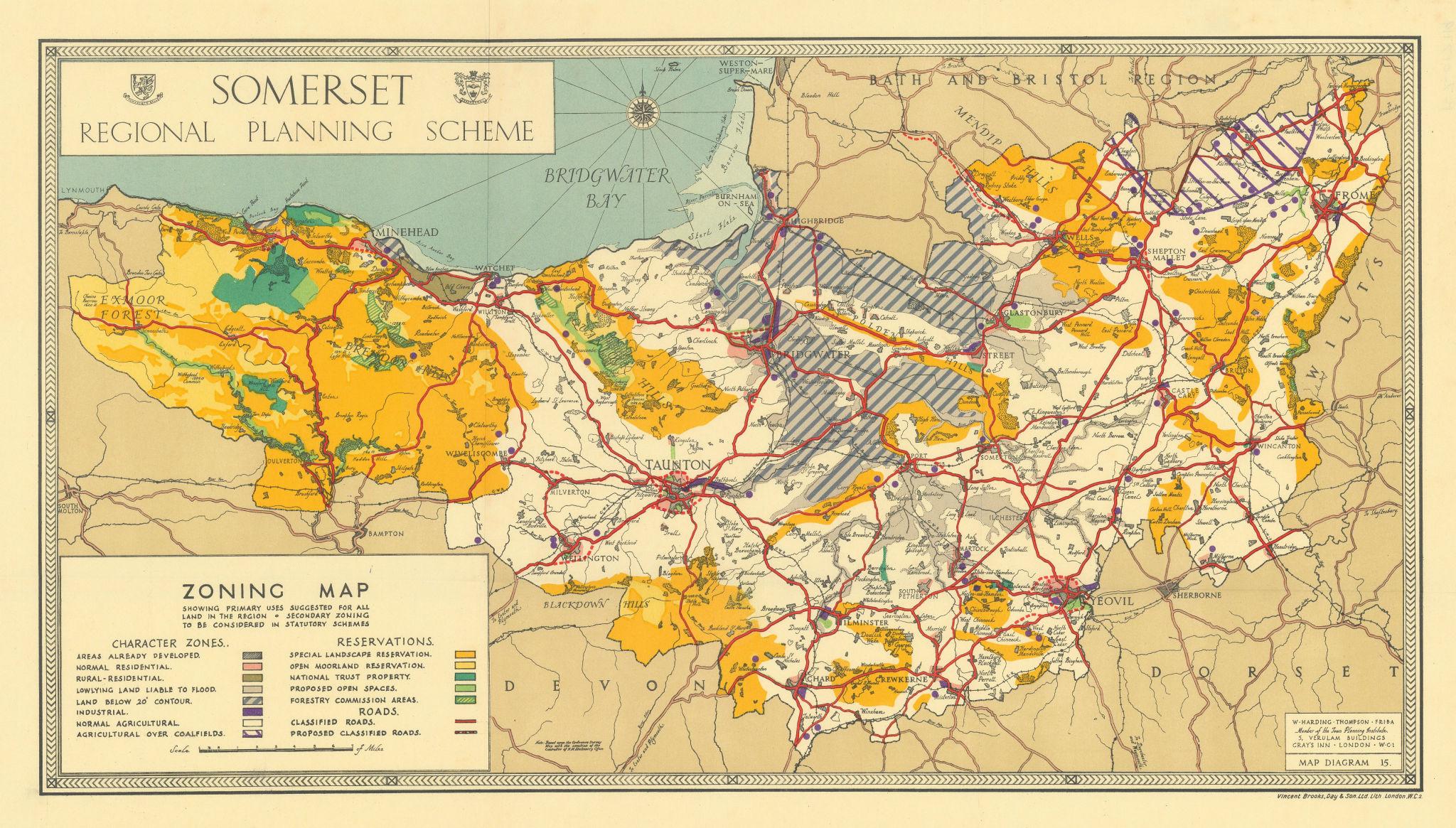 Somerset regional plan Zoning map. Proposed AONBs. HARDING THOMPSON 1934