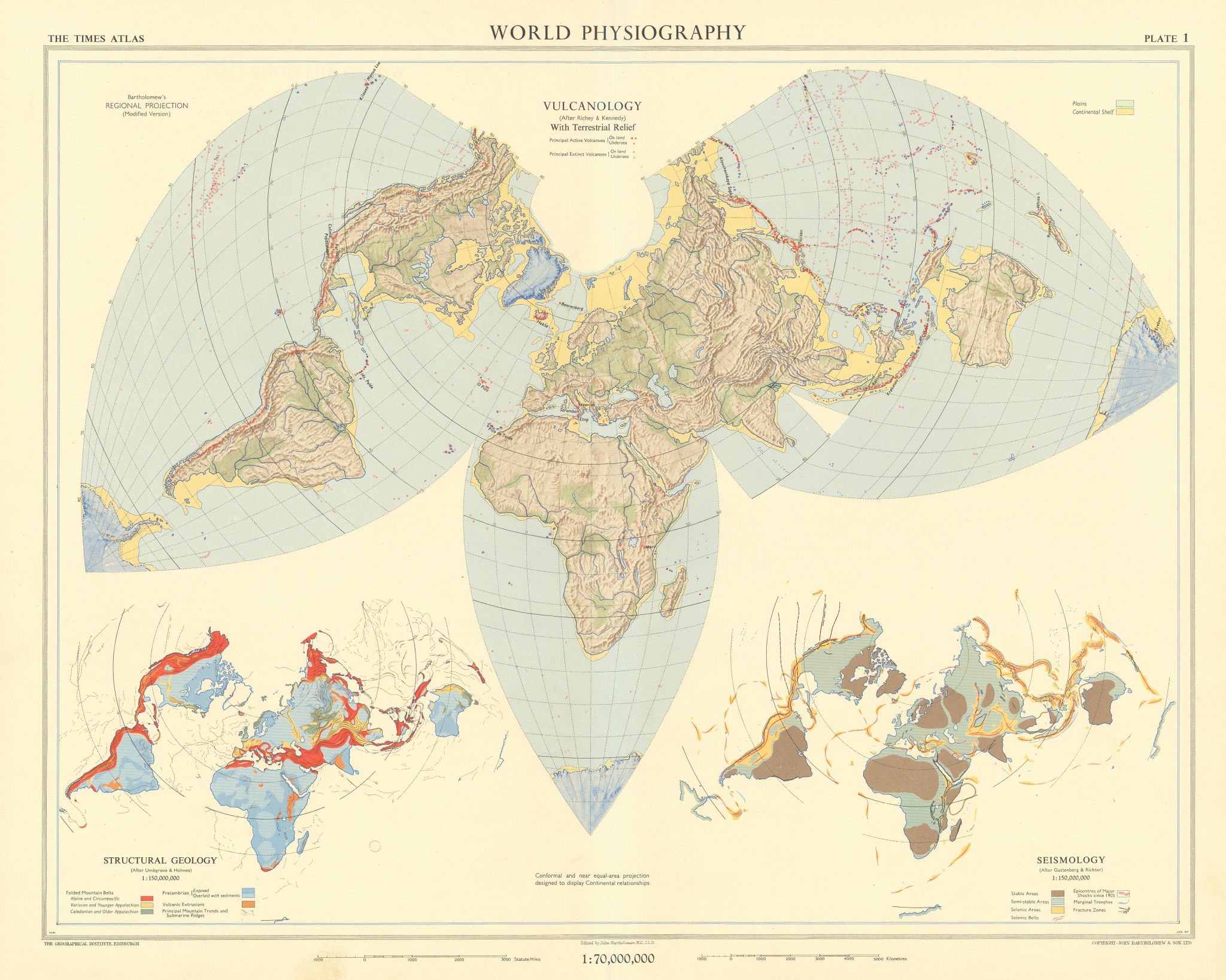 World Physiography. Vulcanology. Structural Geology. Seismology. TIMES 1958 map