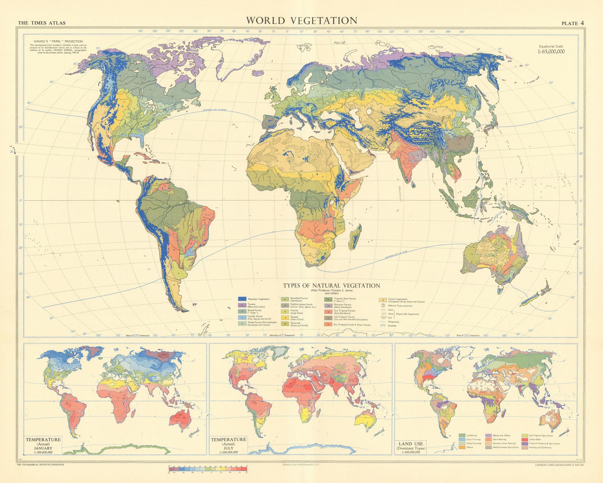 World Vegetation. Temperature & Land use. TIMES 1958 old vintage map chart