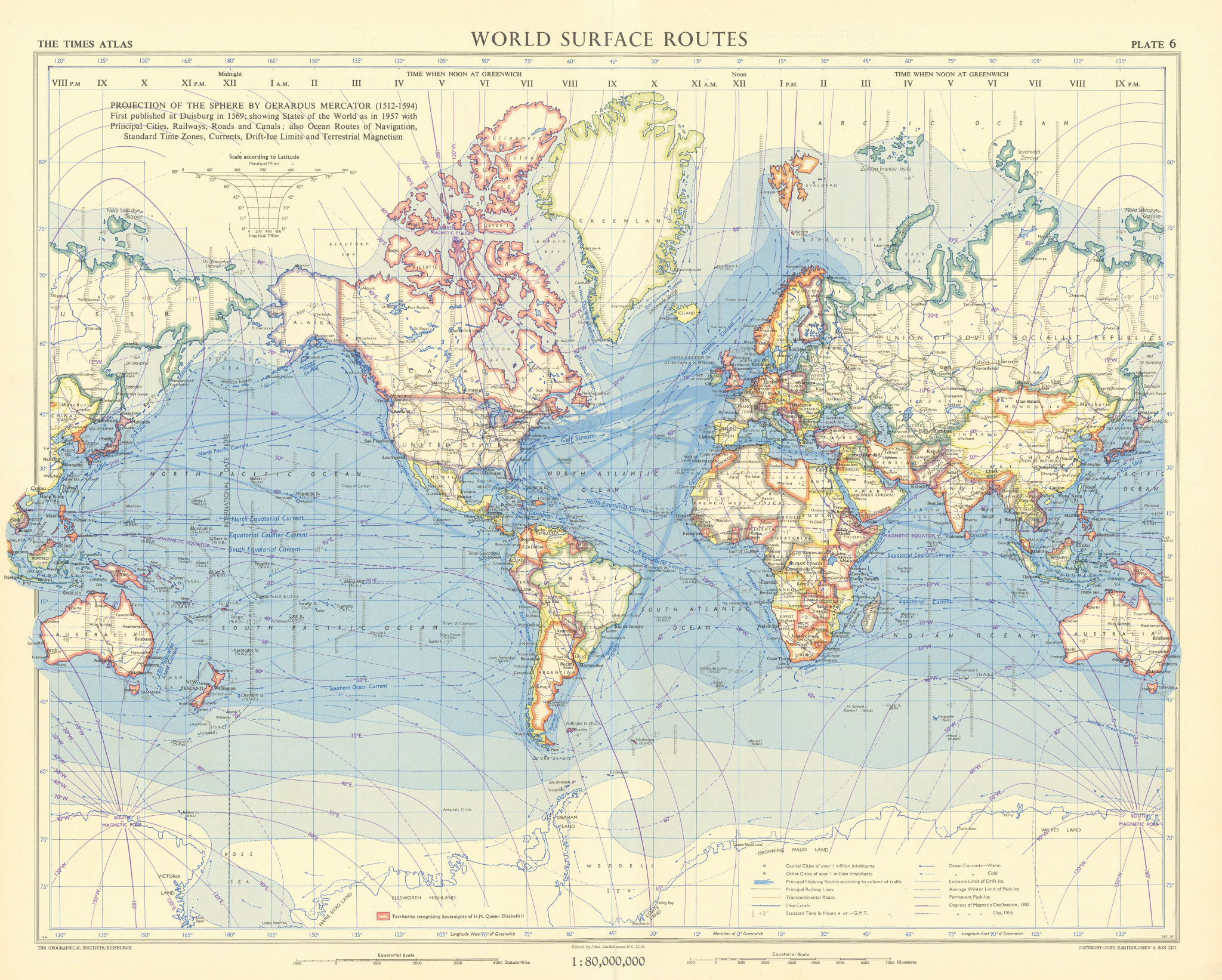 World surface routes. Shipping & railways. British Commonwealth. TIMES 1958 map