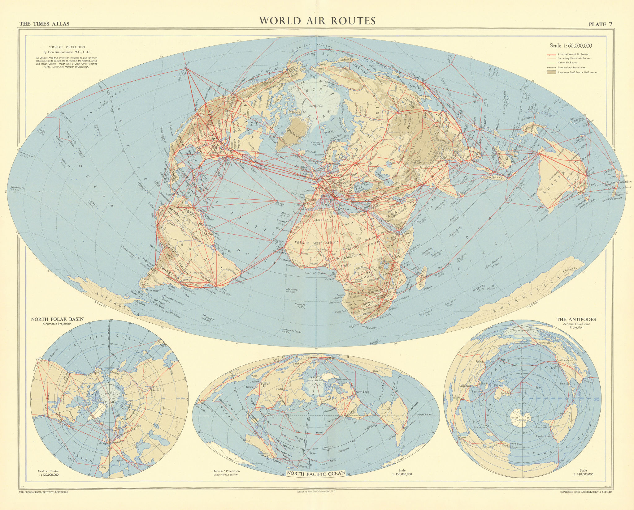 World air routes - Nordic projection. TIMES 1958 old vintage map plan chart