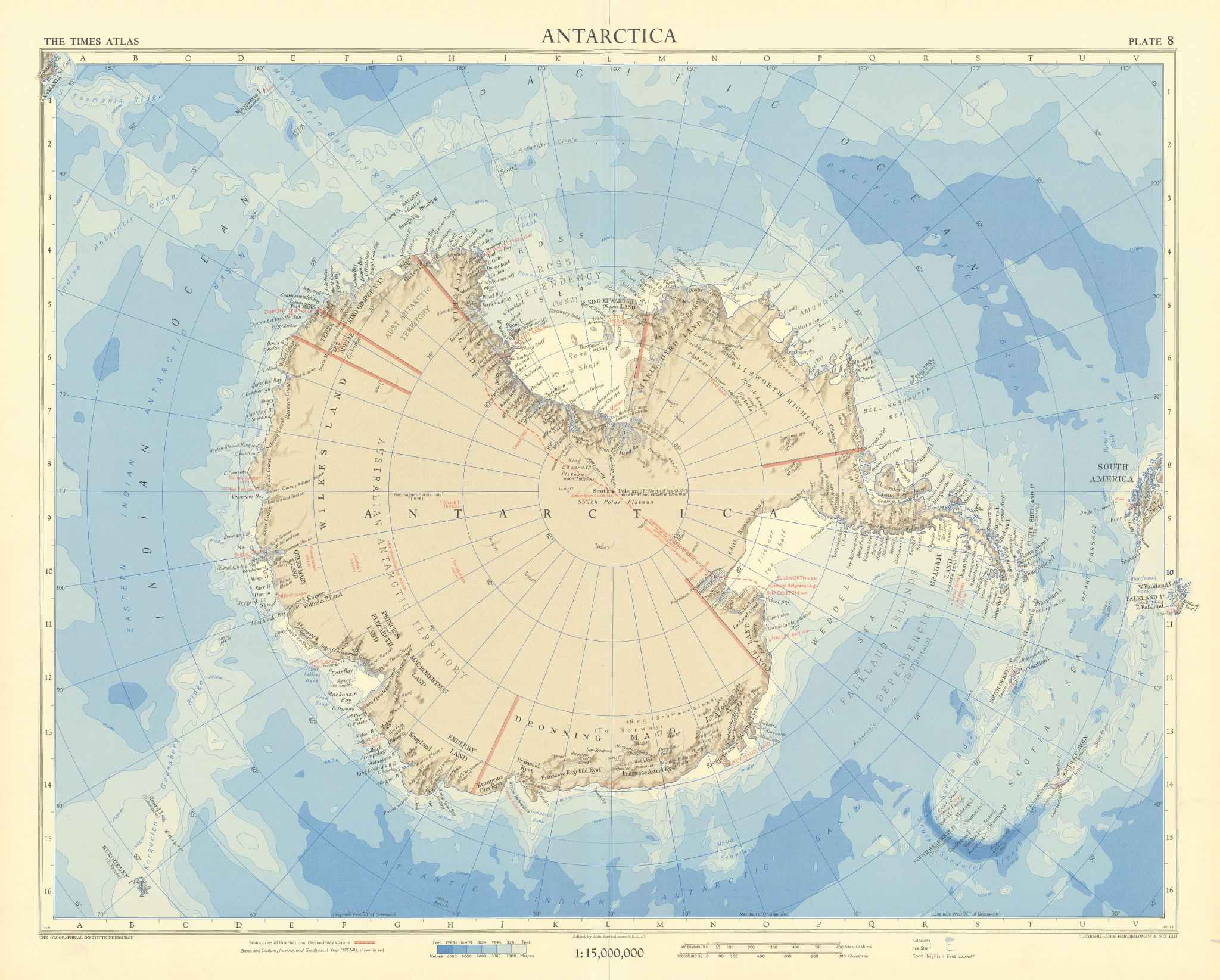 Antarctica. Research stations & CTAE 1957-58 route. South Pole. TIMES 1958 map