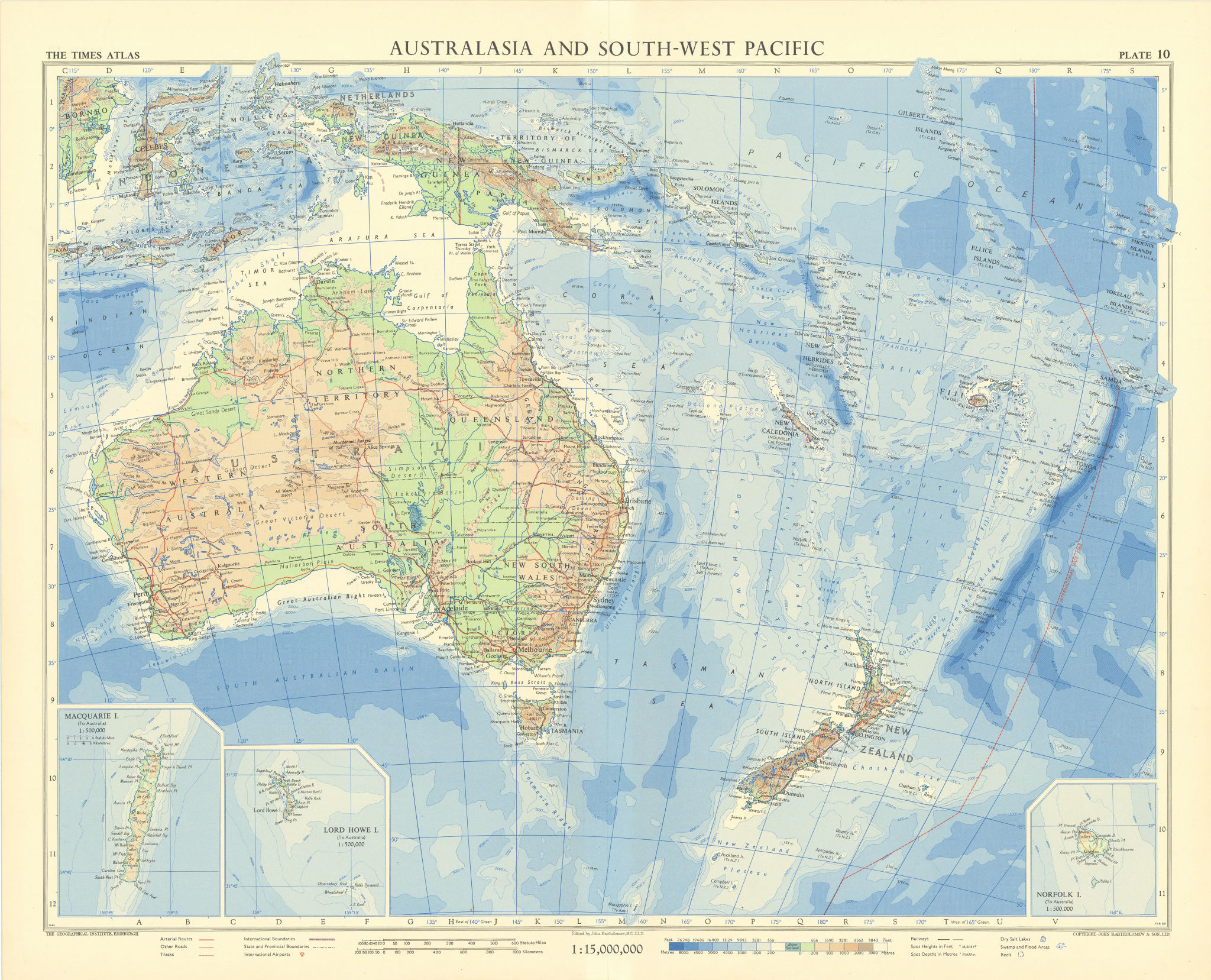 Australia Southwest Pacific. Macquarie Lord Howe Norfolk Islands. TIMES 1958 map