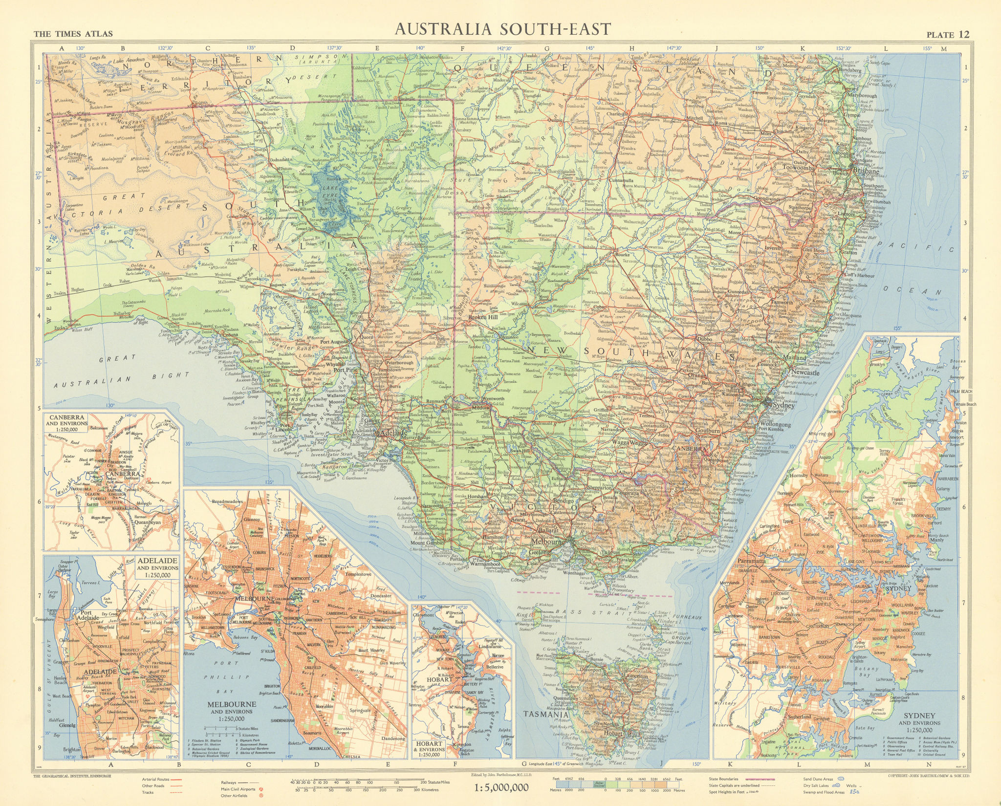 South Australia New South Wales Canberra Adelaide Melbourne TIMES 1958 old map