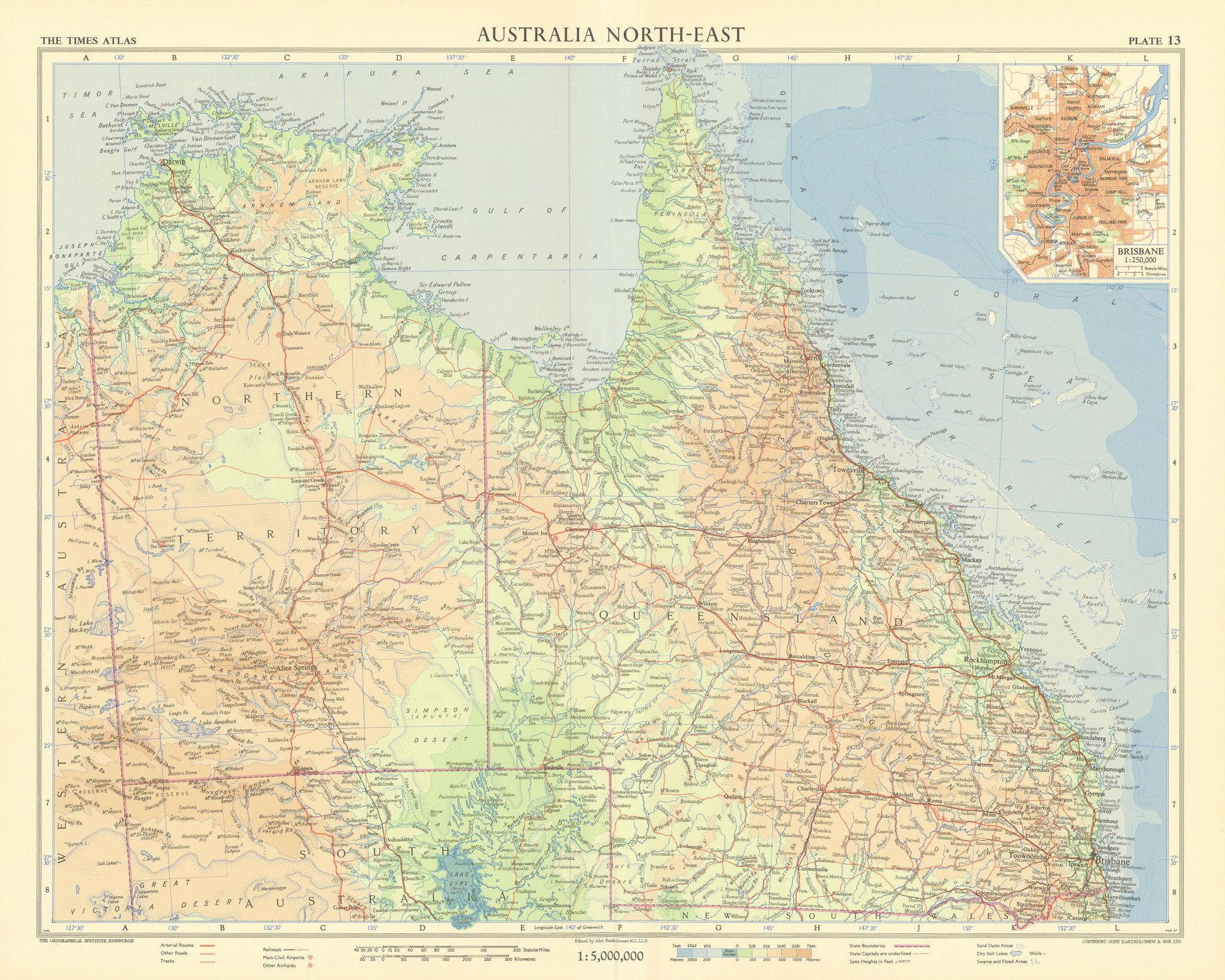 Australia NE. Queensland & Northern Territory. Brisbane plan. TIMES 1958 map