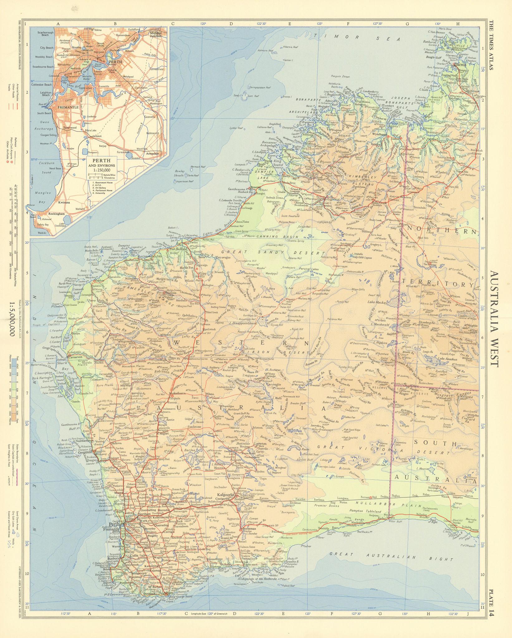 Western Australia. Perth & environs. TIMES 1958 old vintage map plan chart