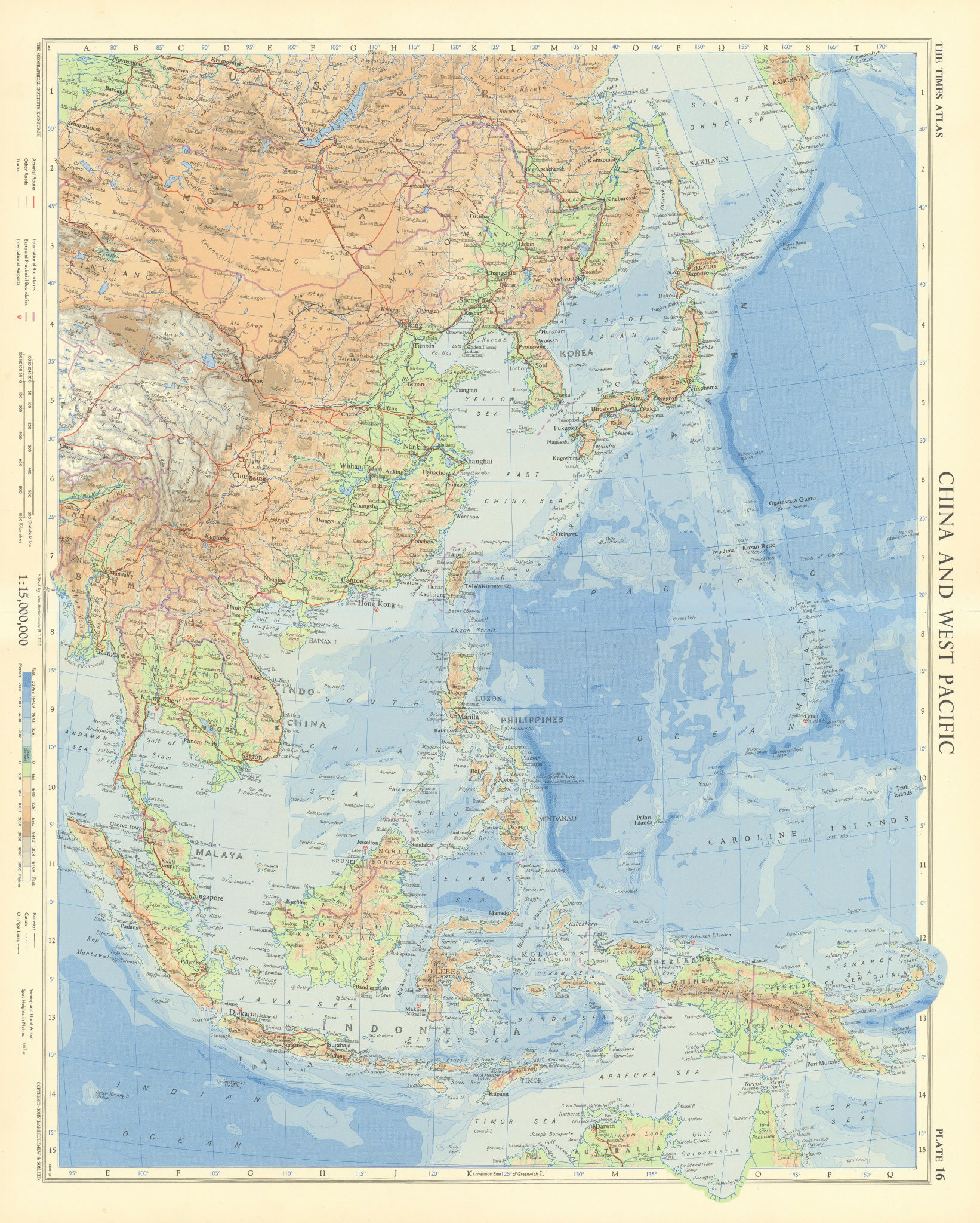 China and western Pacific. East Asia Indonesia Philippines. TIMES 1958 old map