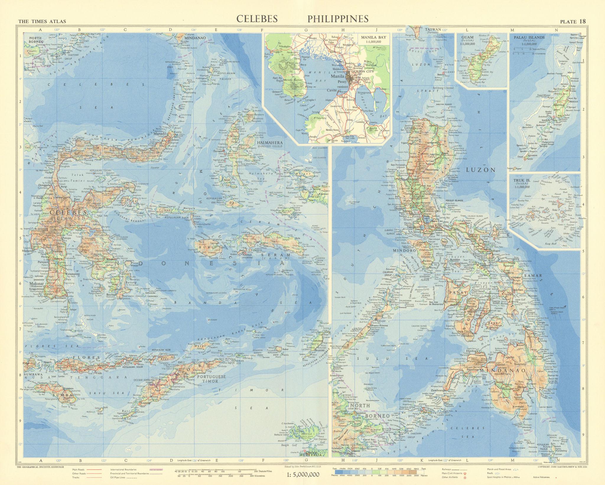 Celebes Sulawesi Moluccas Philippines Manila Guam Palau Truk. TIMES 1958 map