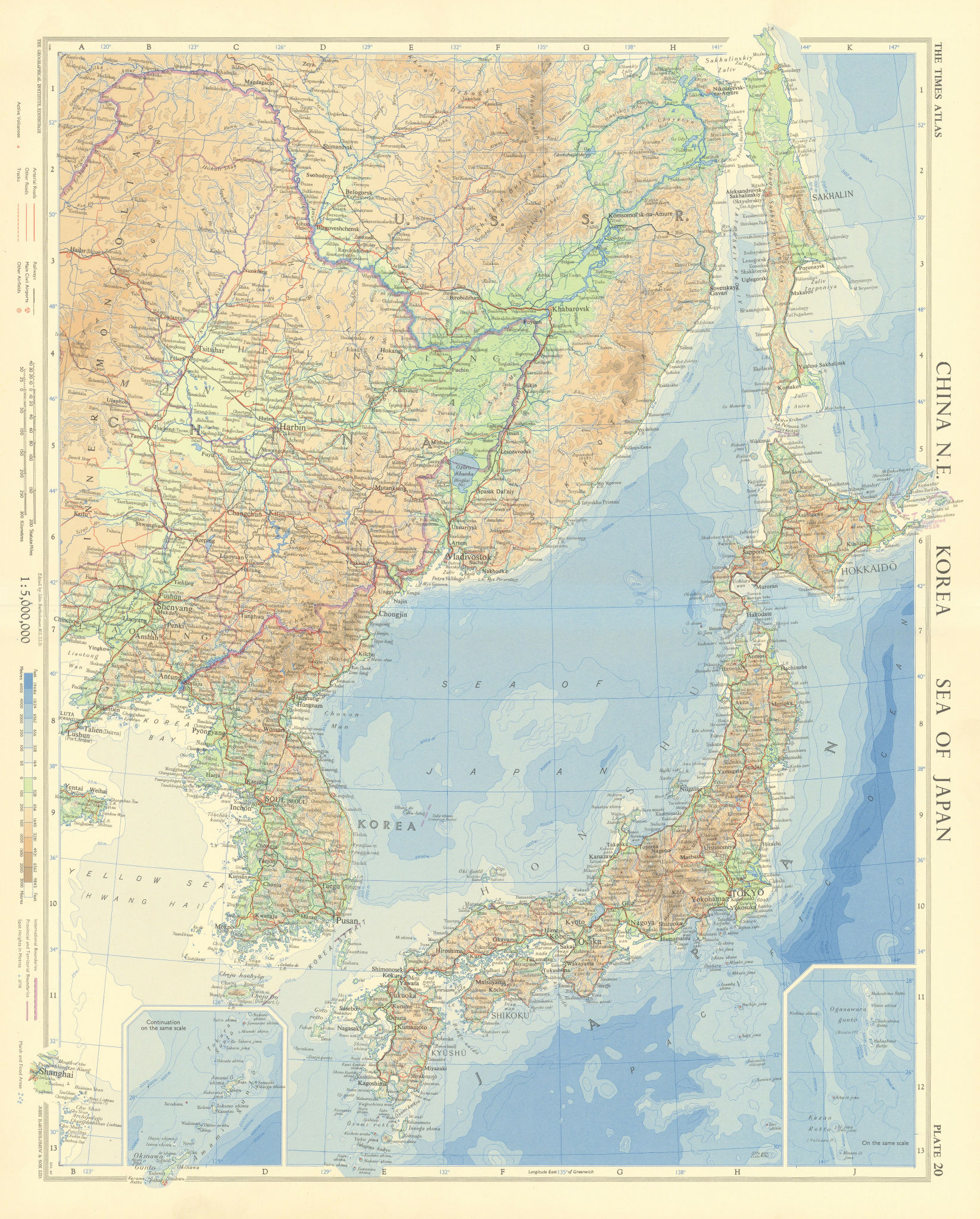 North-east China Korea Japan Russian Far East. North East Asia. TIMES 1958 map
