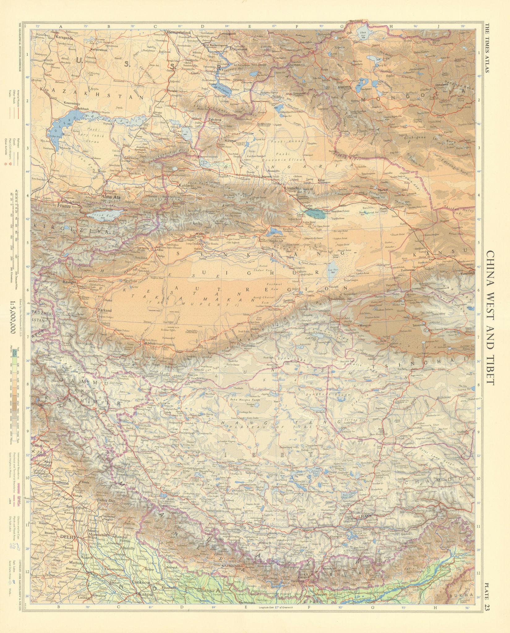 Western China & Tibet. Himalayas. Nepal & Bhutan. TIMES 1958 old vintage map