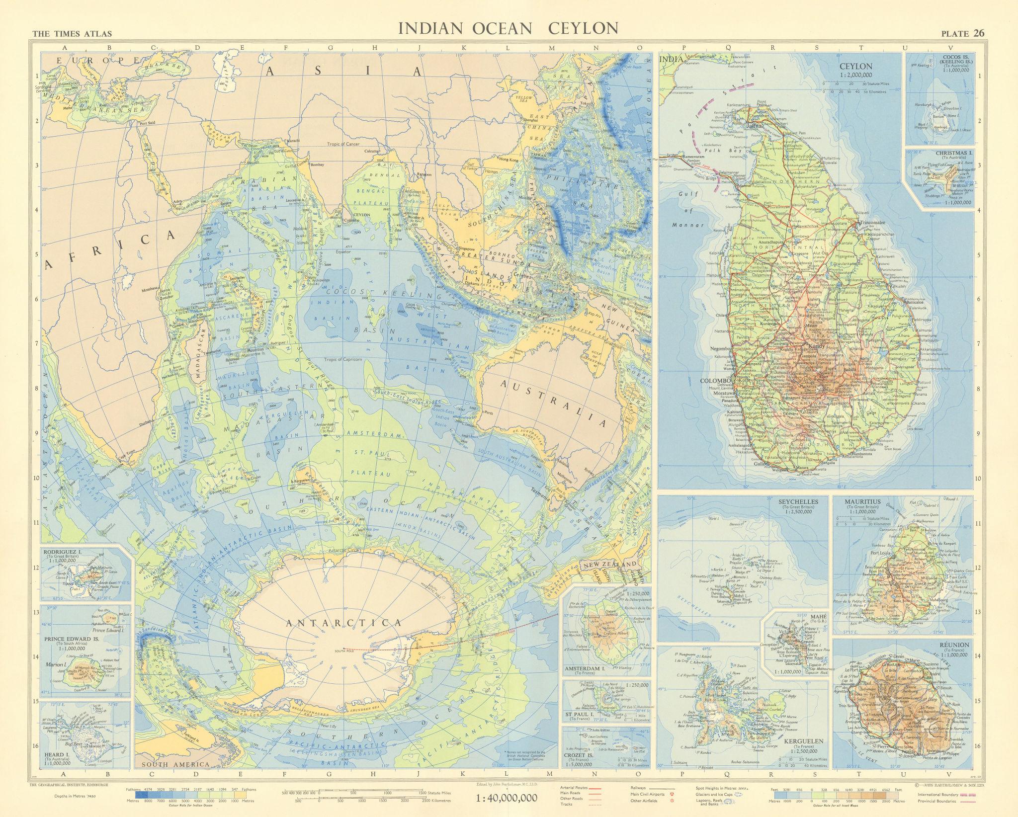 Indian Ocean islands. Ceylon Seychelles Mauritius Reunion. TIMES 1959 old map