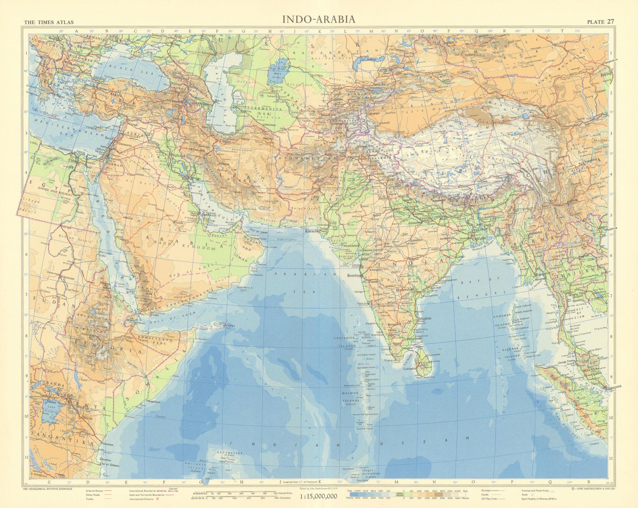 "South Asia. Middle East Africa Indian Ocean. ""Dubayy"" Dubai. TIMES 1959 map"