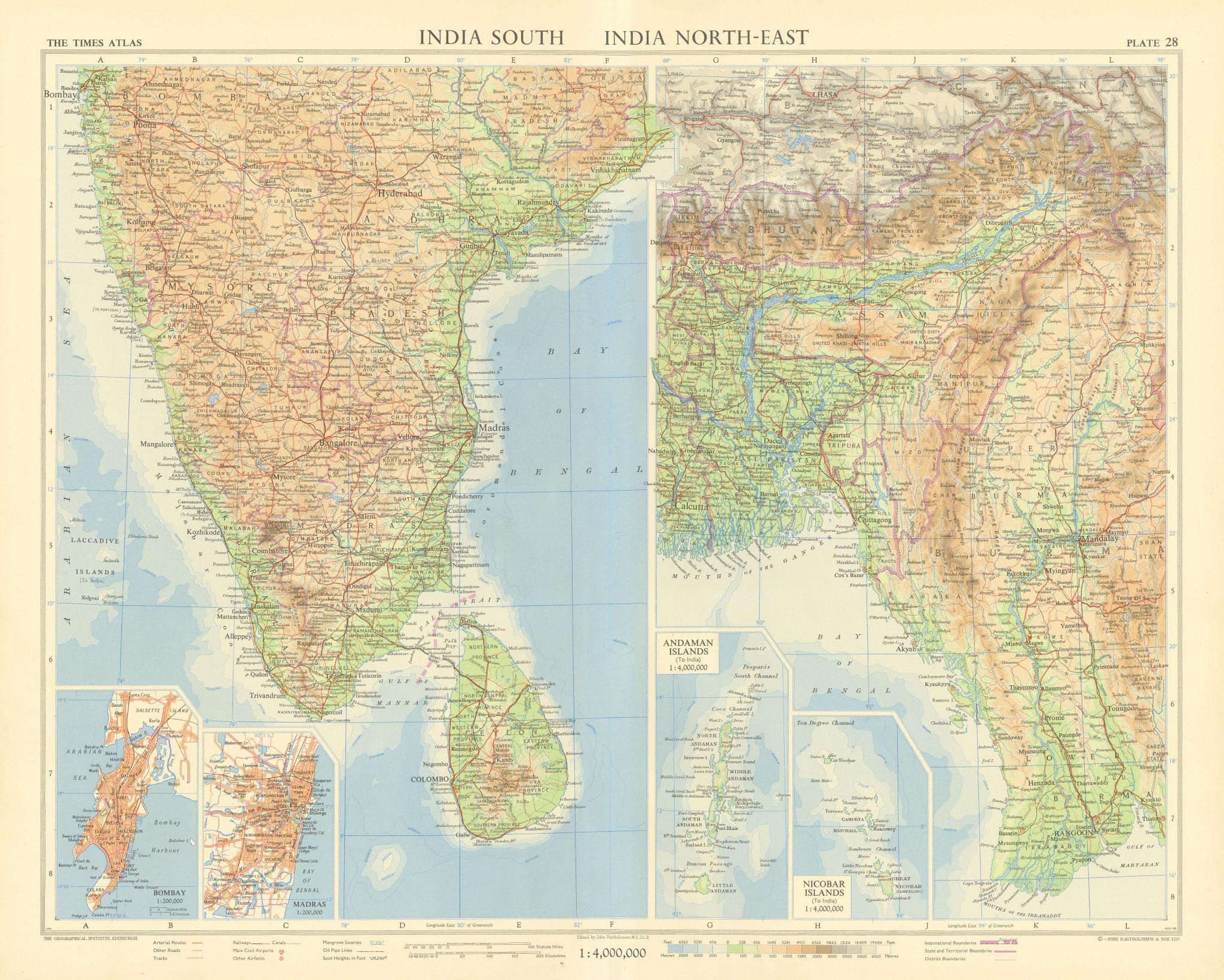 India South. East Pakistan Bangladesh Burma Andaman Nicobar. TIMES 1959 map