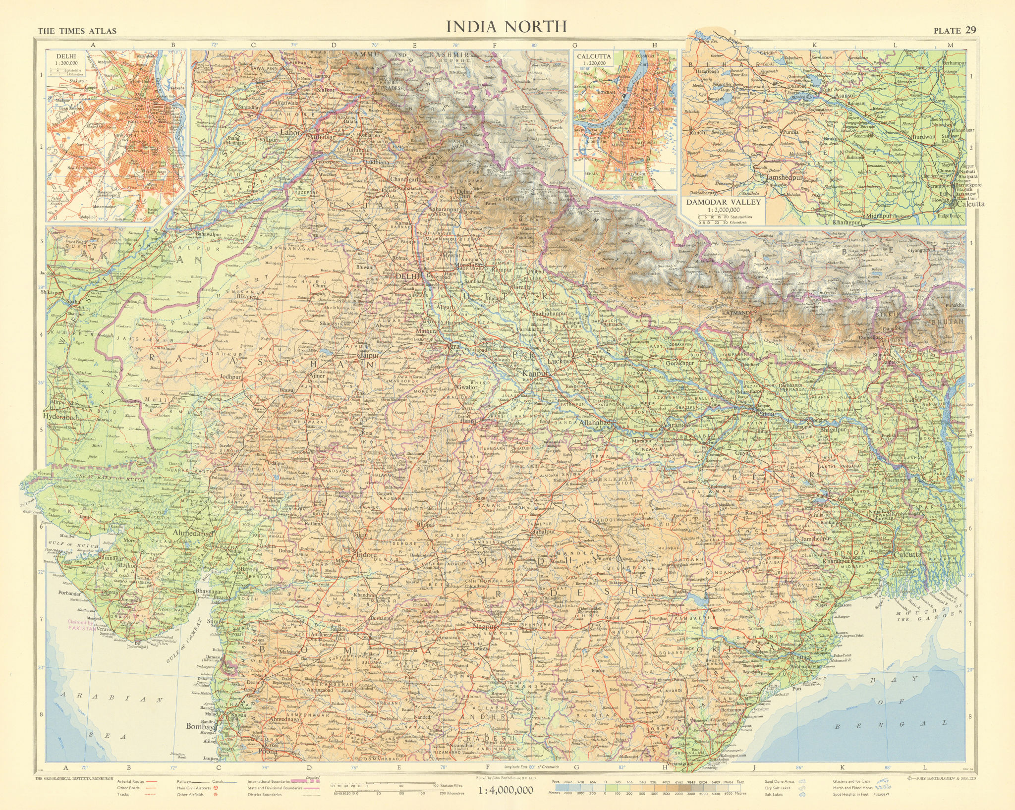 Northern India. Delhi. Calcutta. Damodar valley. Nepal. TIMES 1959 old map