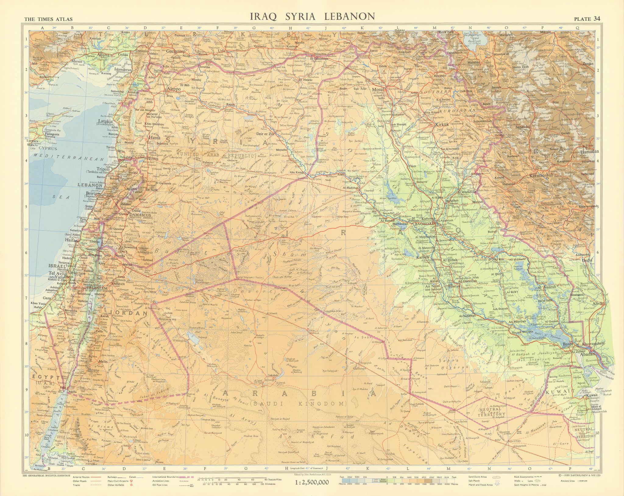 Middle East & Levant. Iraq Syria Lebanon Jordan Israel Arabia. TIMES 1959 map