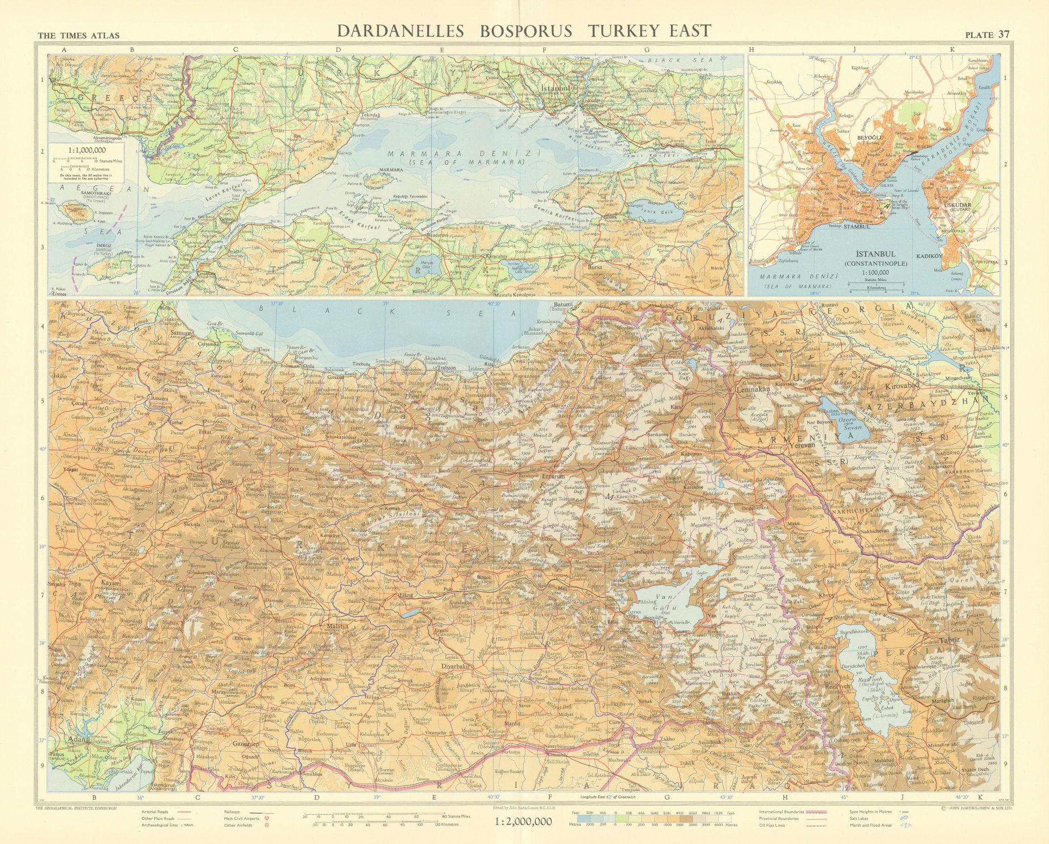 Eastern Turkey. Dardanelles. Bosphorus. Sea of Marmara. Istanbul. TIMES 1959 map