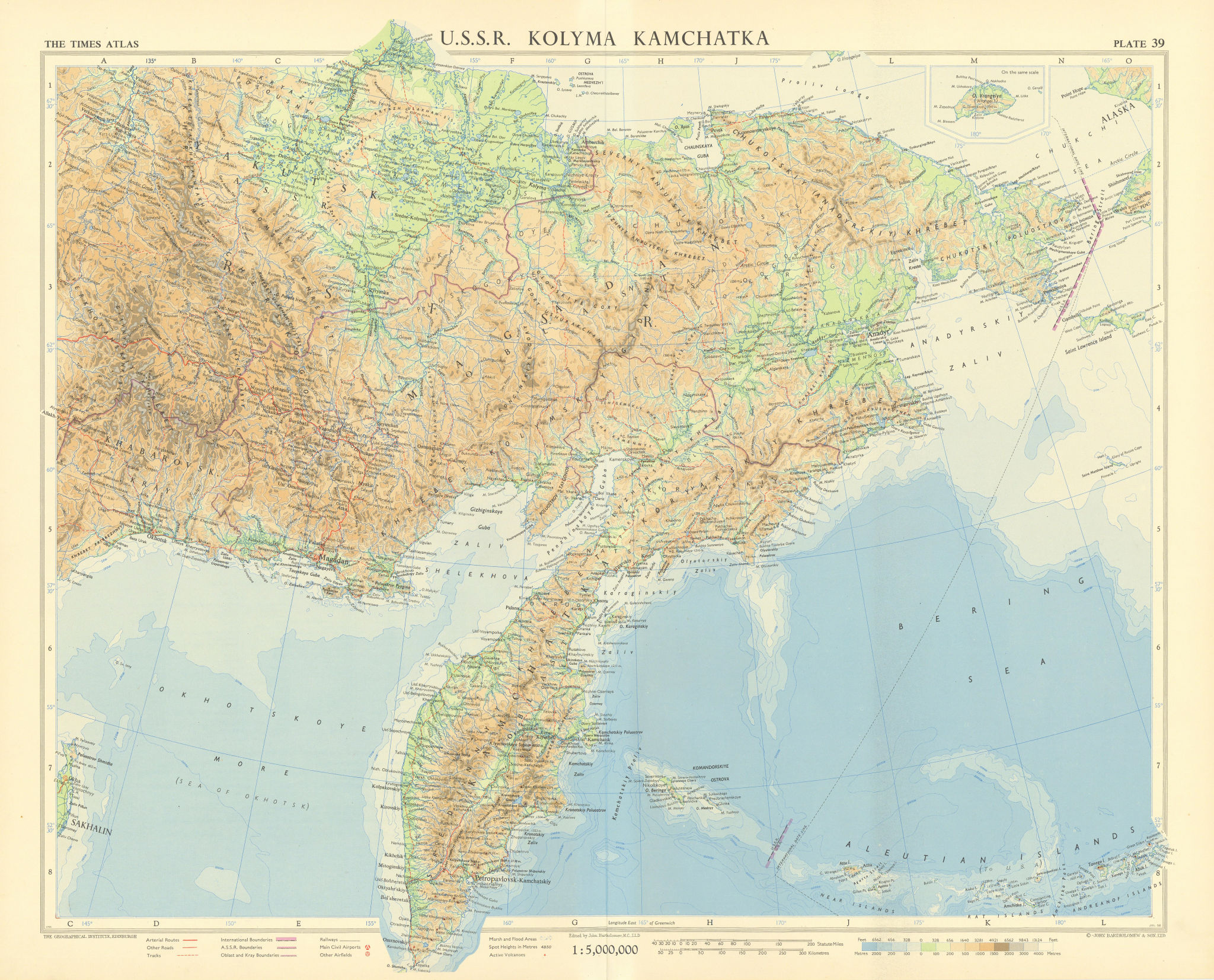 USSR Russian Far East. Kolyma Kamchatka Magadan Chukotka. TIMES 1959 old map