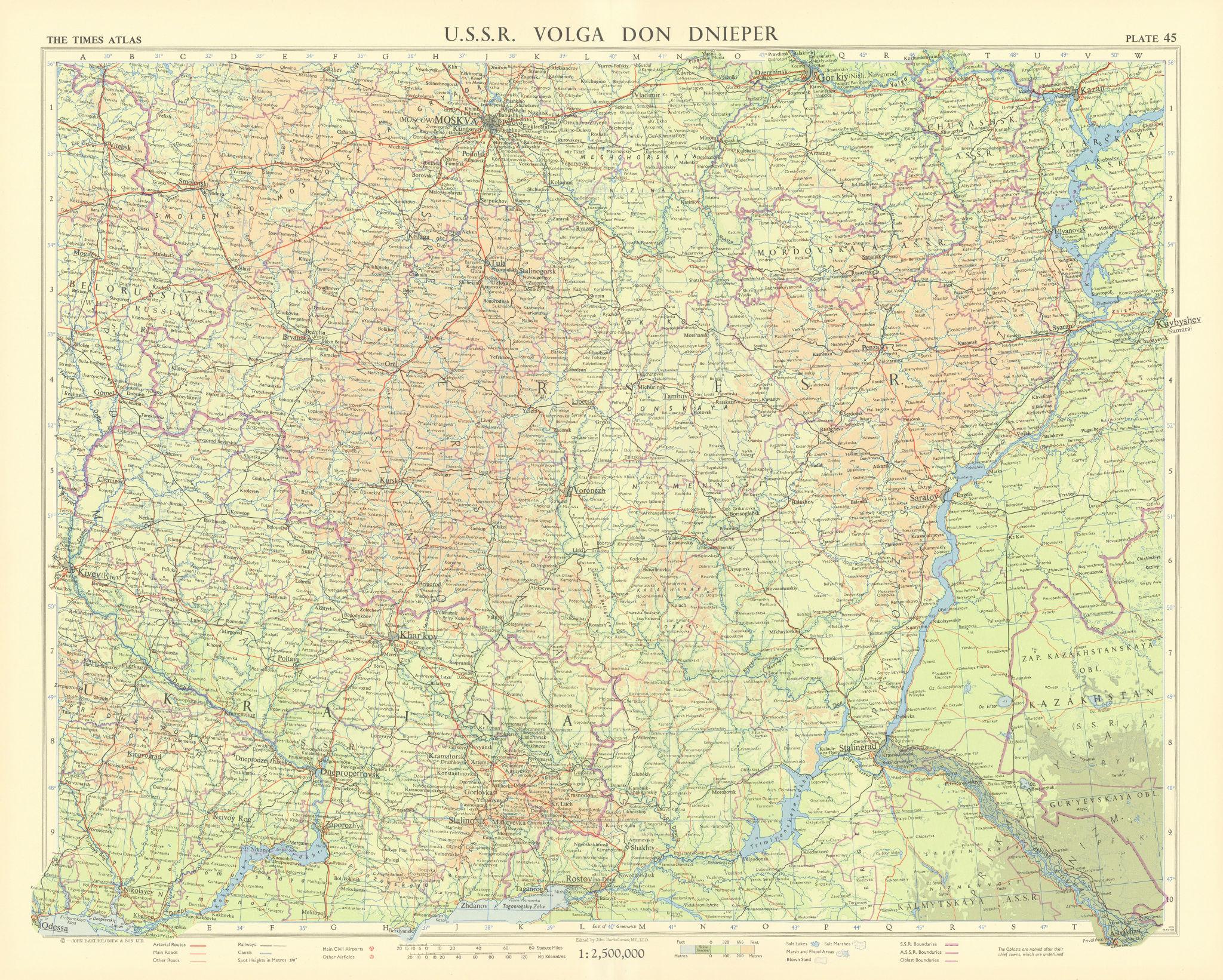 Southern Russia. NE Ukraine. USSR. Volga Don Dnieper. TIMES 1959 old map