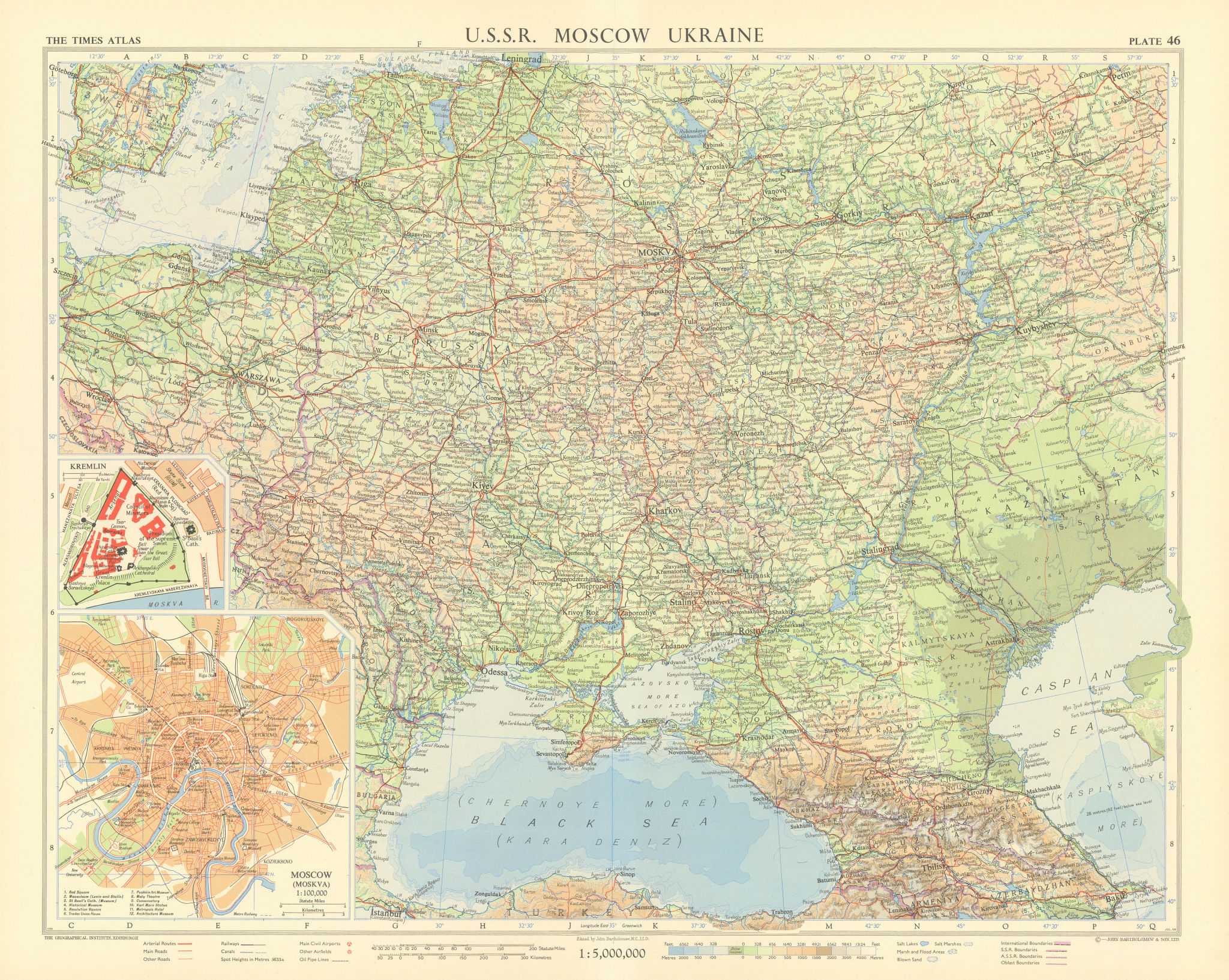 Southwest Russia & Ukraine. USSR. Moscow & Kremlin plans. TIMES 1959 old map