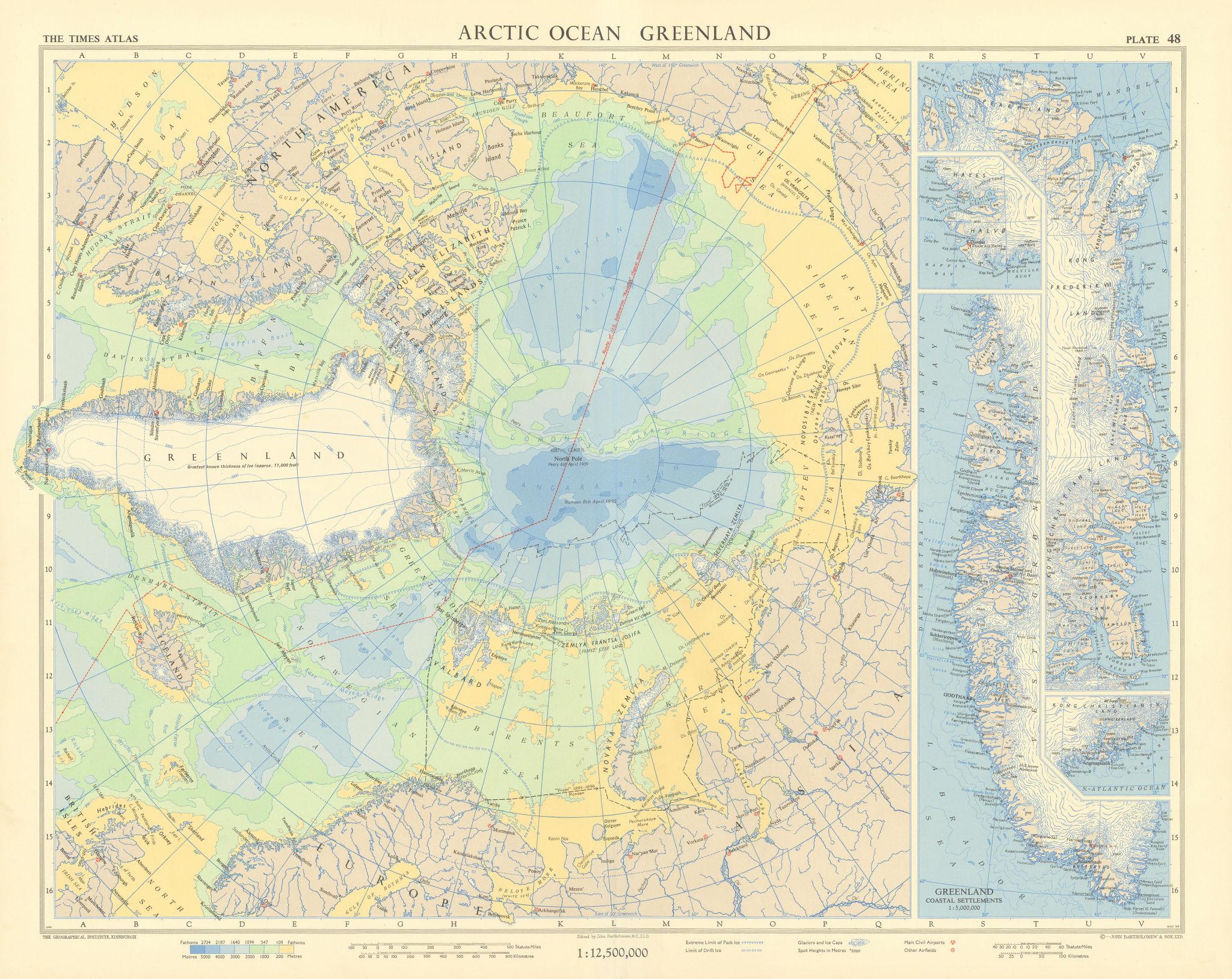 Arctic Ocean. Greenland coastal settlements. Nautilus route. TIMES 1959 map