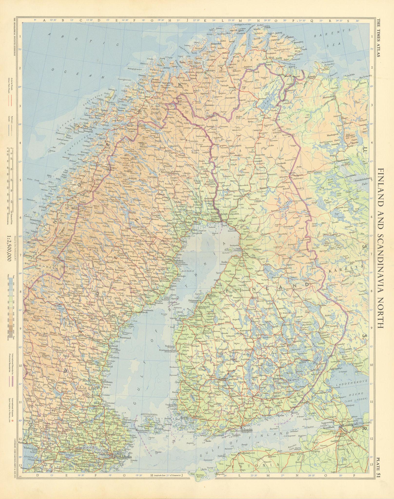 Finland & northern Scandinavia. Sweden & Norway. Gulf of Bothnia. TIMES 1955 map