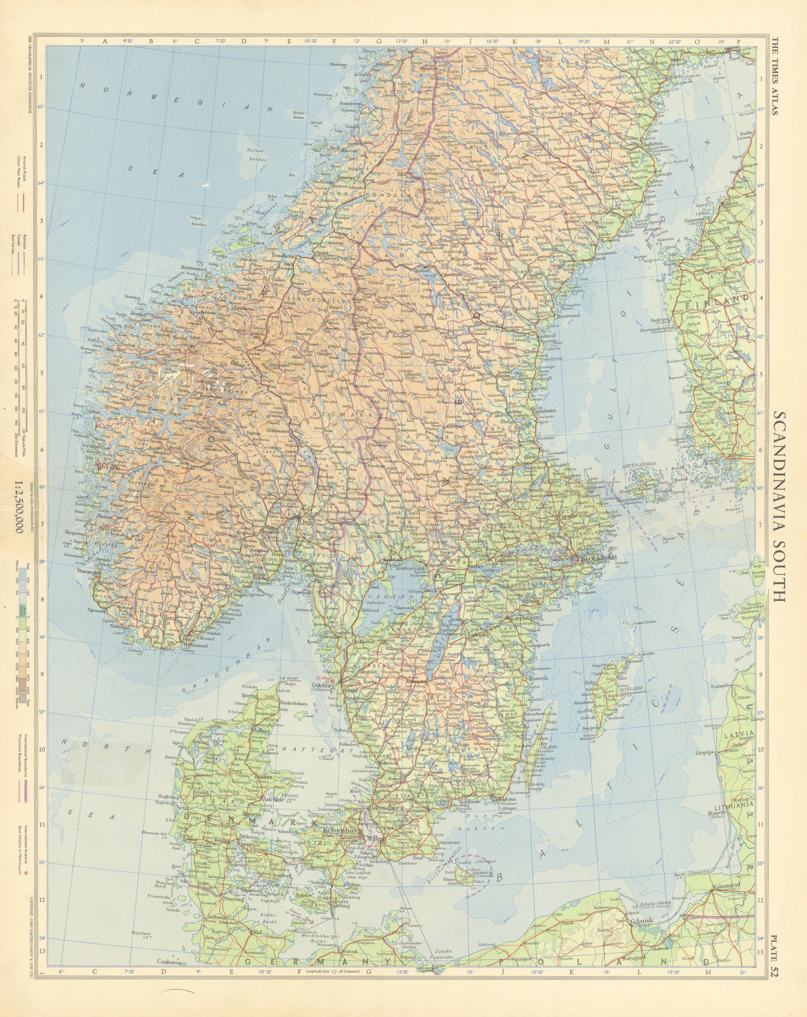 Southern Scandinavia. Norway Sweden Denmark. TIMES 1955 old vintage map chart