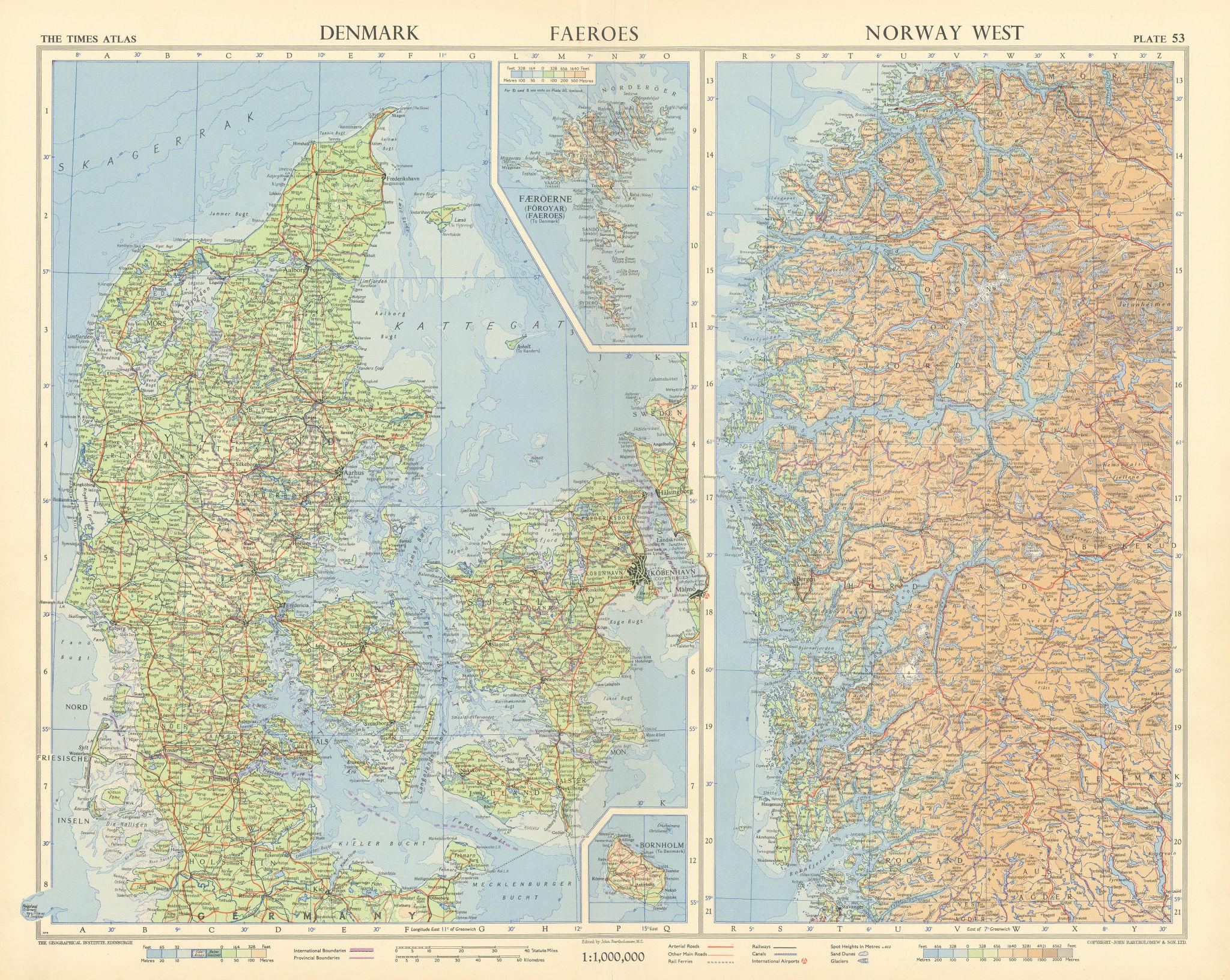 Denmark & western Norway. Fjords. Faeroe islands. TIMES 1955 old vintage map