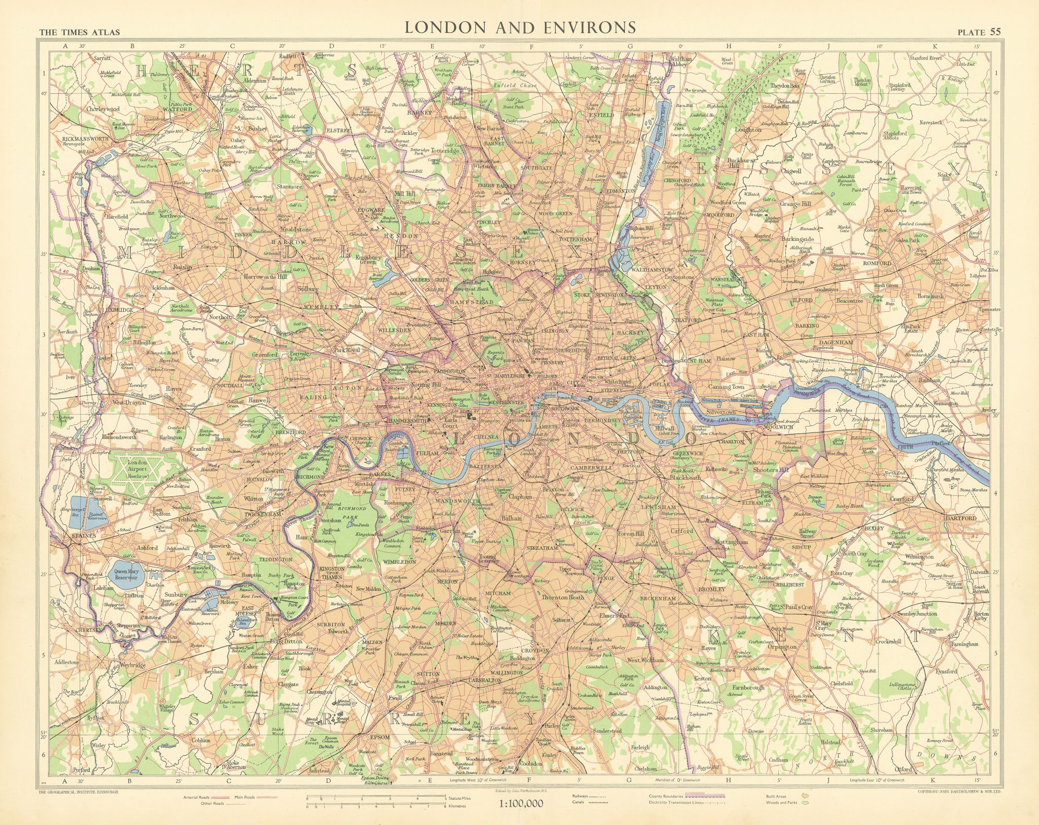 Greater London. Railways canals electricity transmission lines. TIMES 1955 map