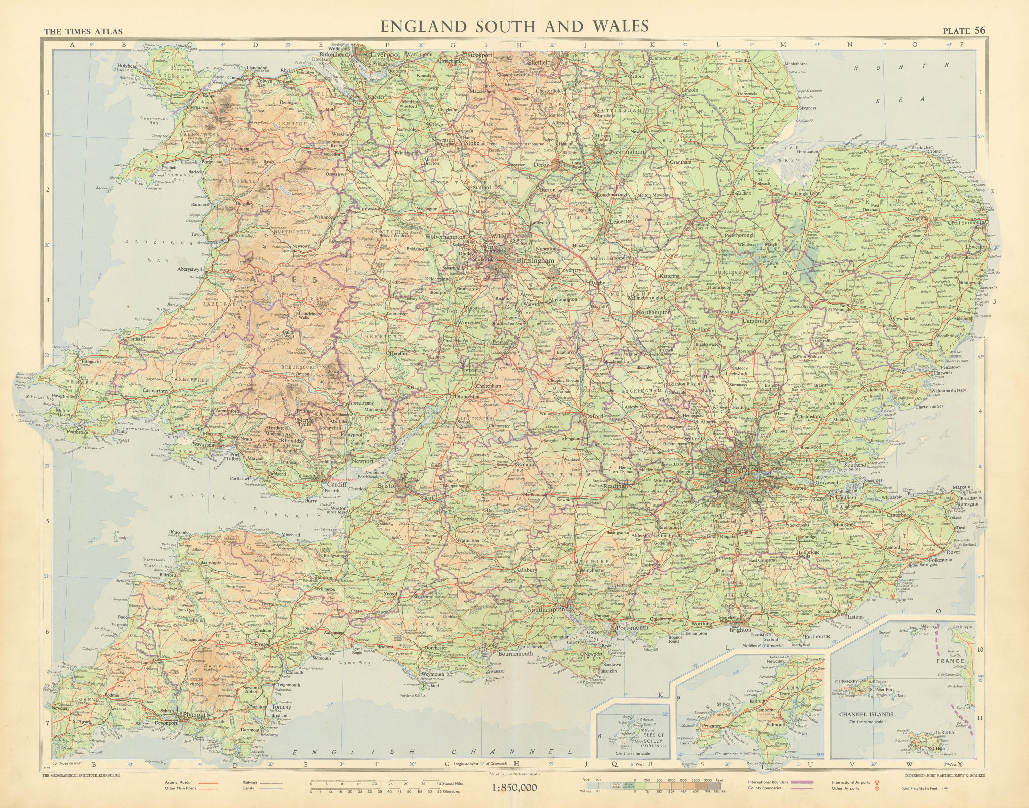 Southern England and Wales. Road network pre motorways. TIMES 1955 old map