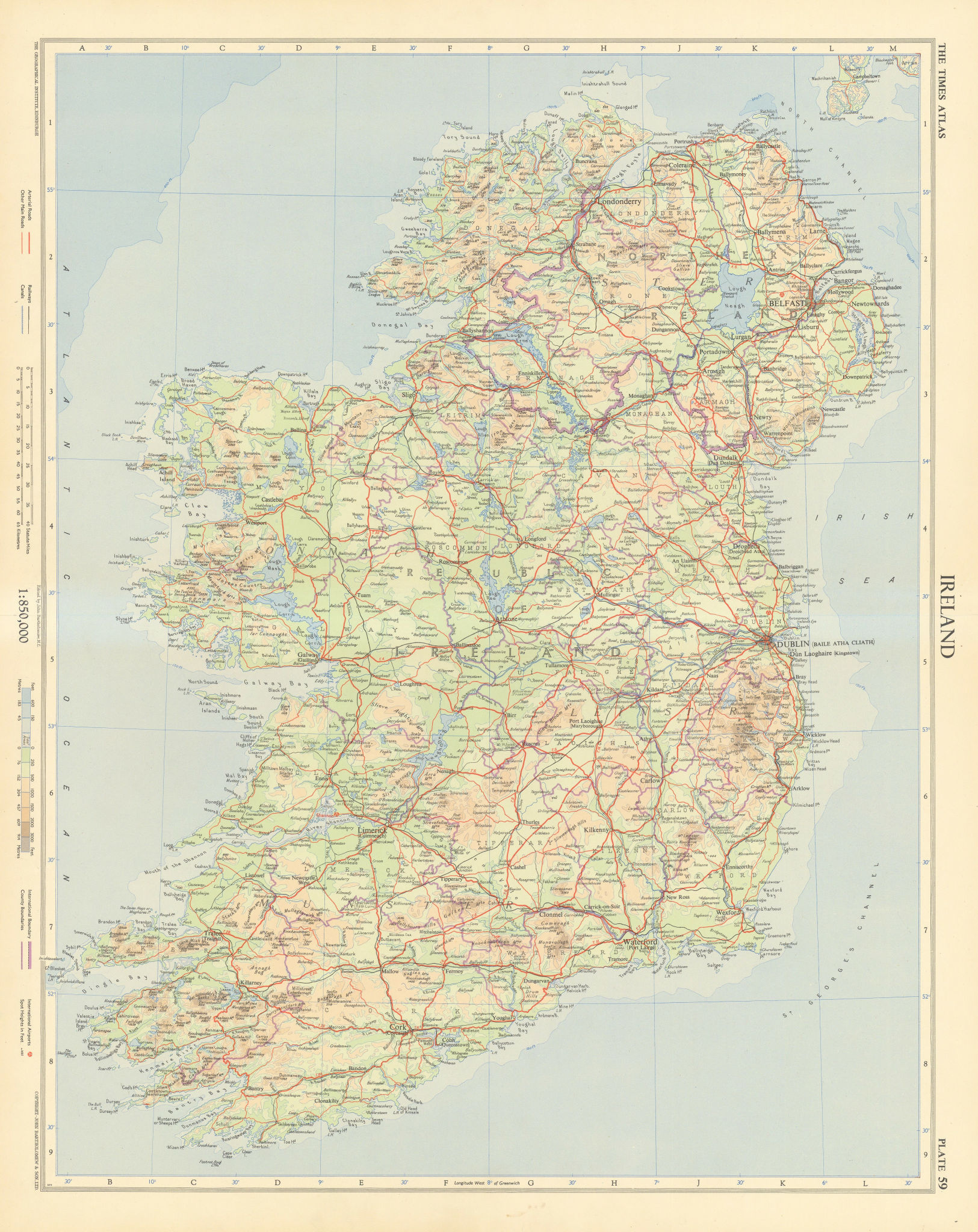 Ireland. Road network. TIMES 1955 old vintage map plan chart