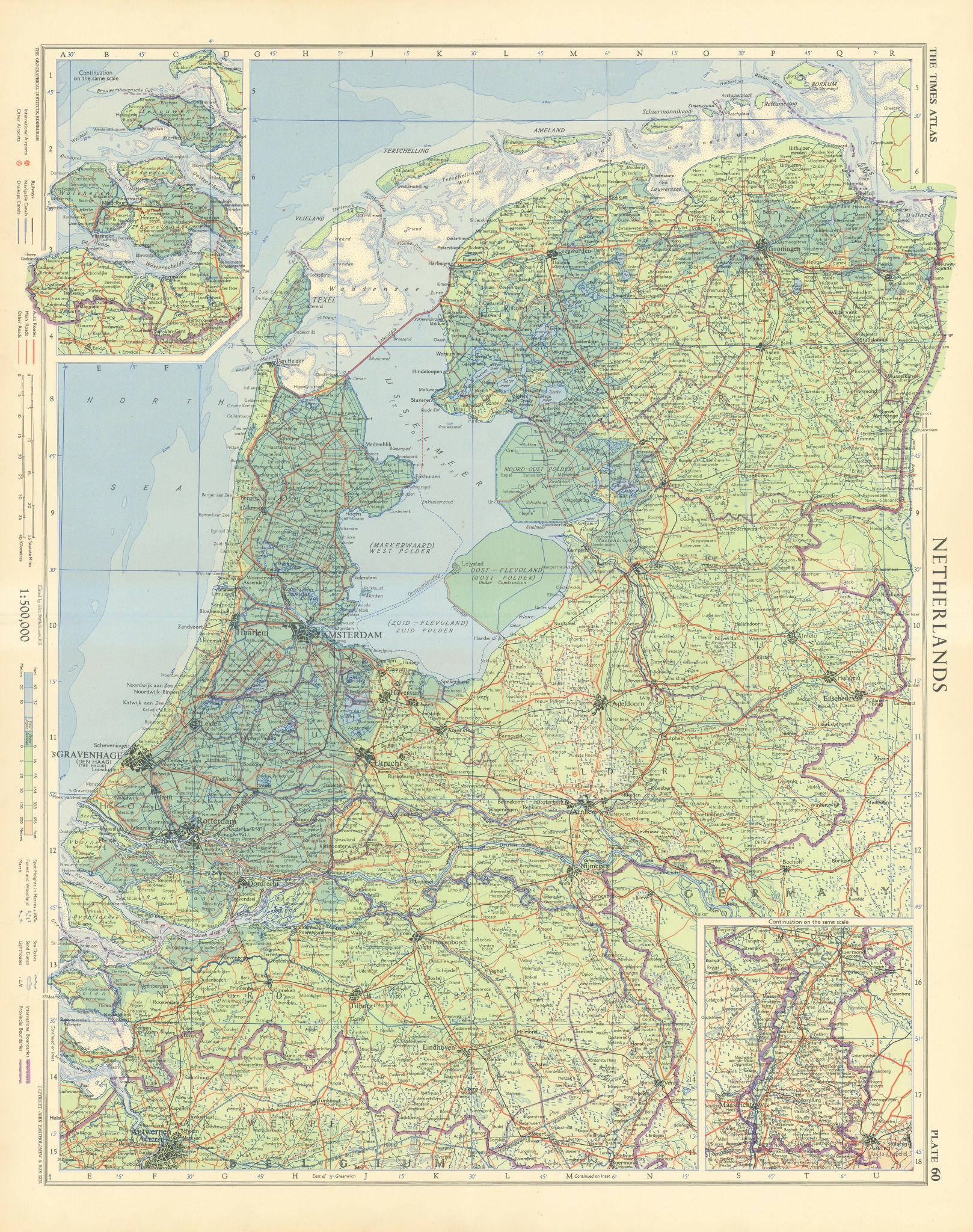 Netherlands showing polders under construction & below sea level. TIMES 1955 map