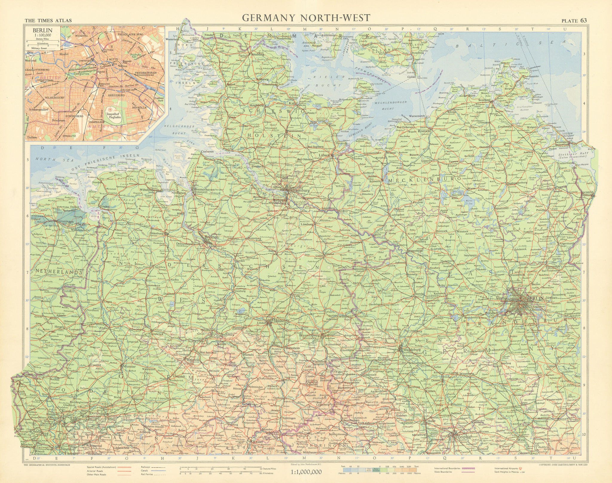 Northern Germany. Berlin plan. Road network autobahnen. TIMES 1955 old map