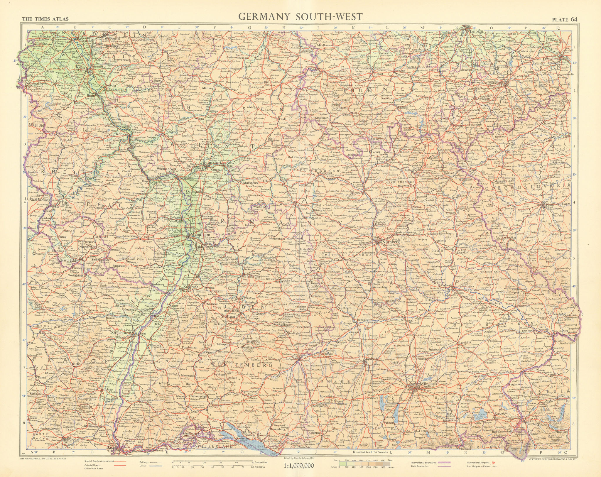 Germany south-west. Bavaria Bayern & Baden-Wurttemberg. TIMES 1955 old map