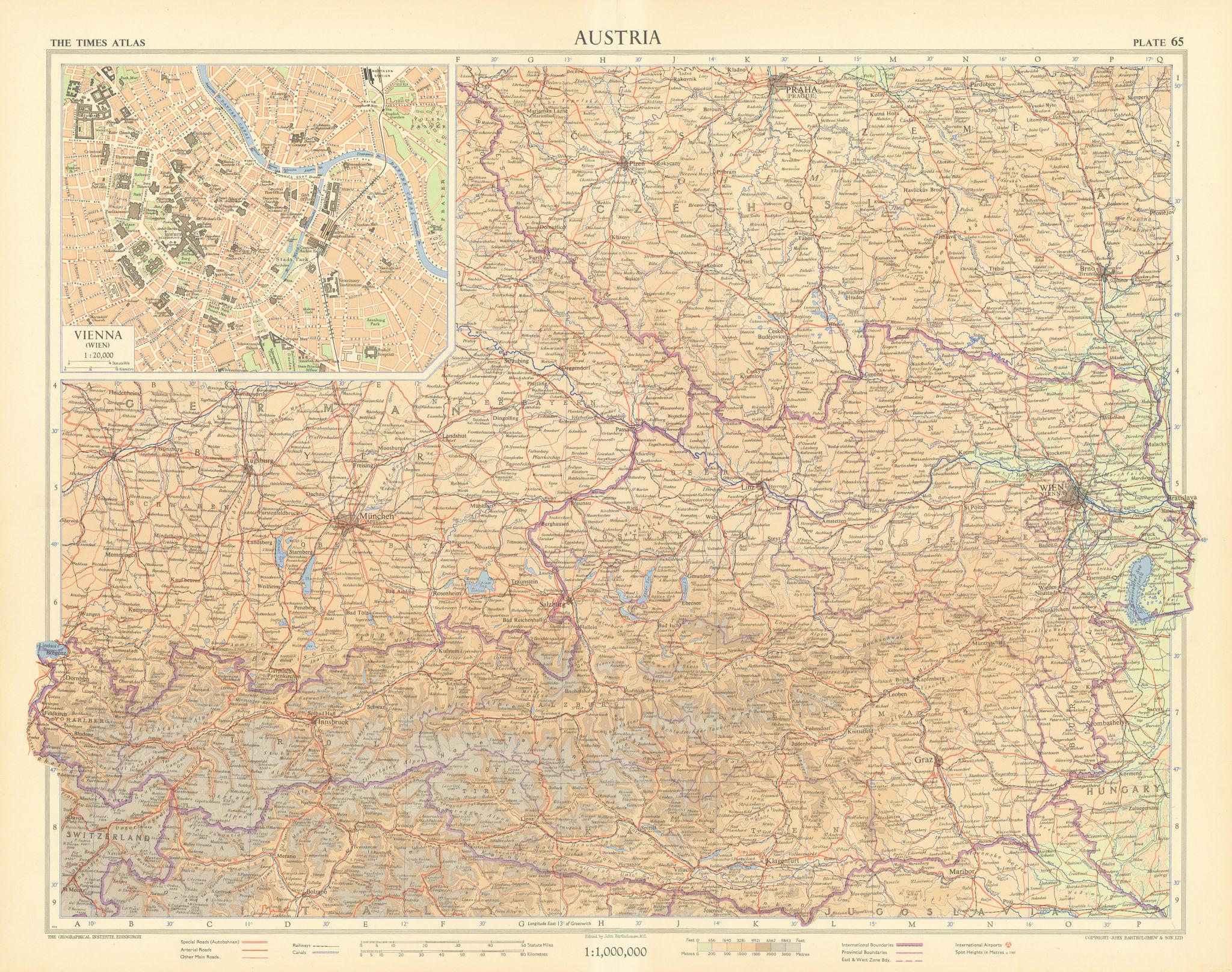 Austria. Vienna plan. TIMES 1955 old vintage map chart