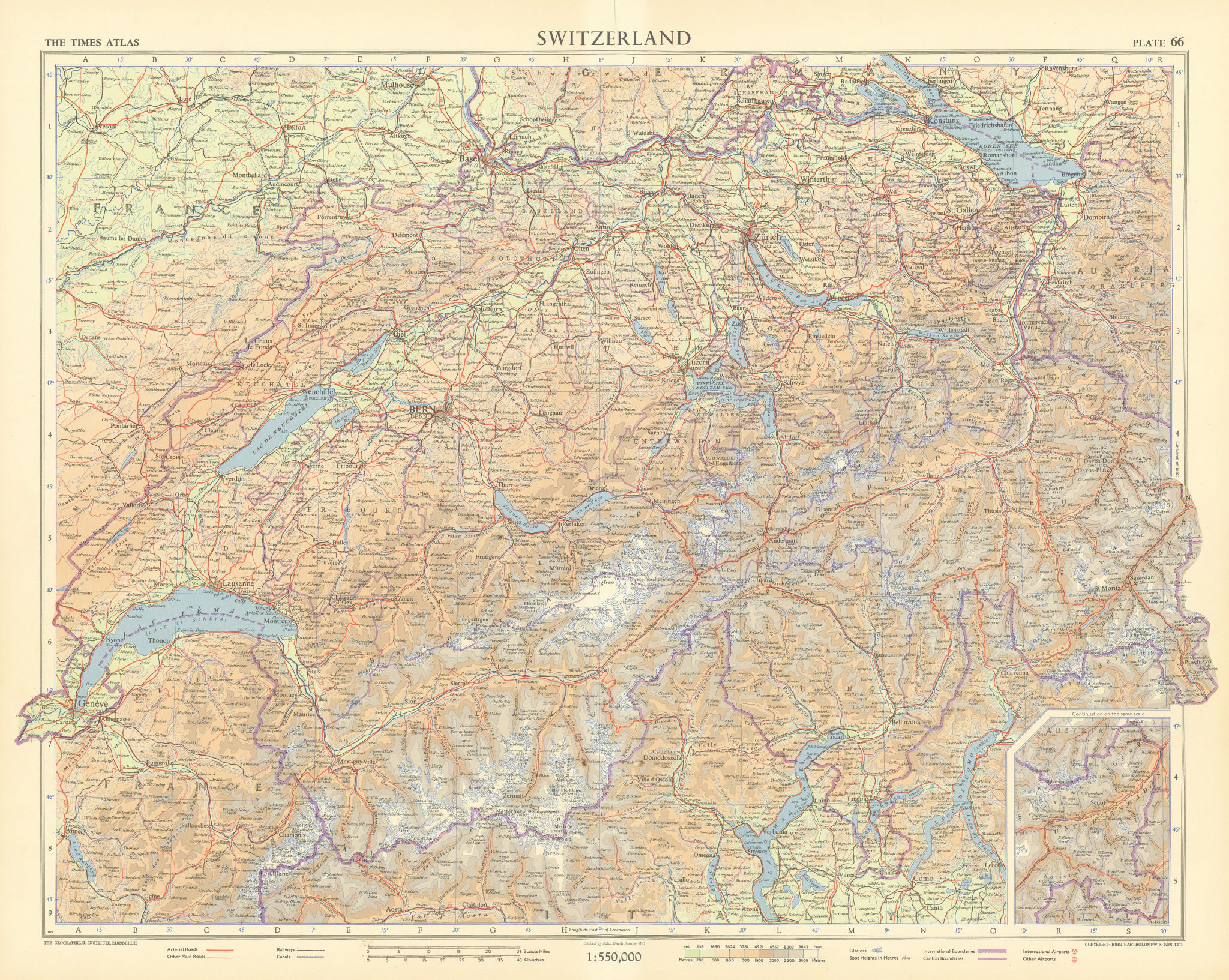 Switzerland showing glaciers. TIMES 1955 old vintage map plan chart
