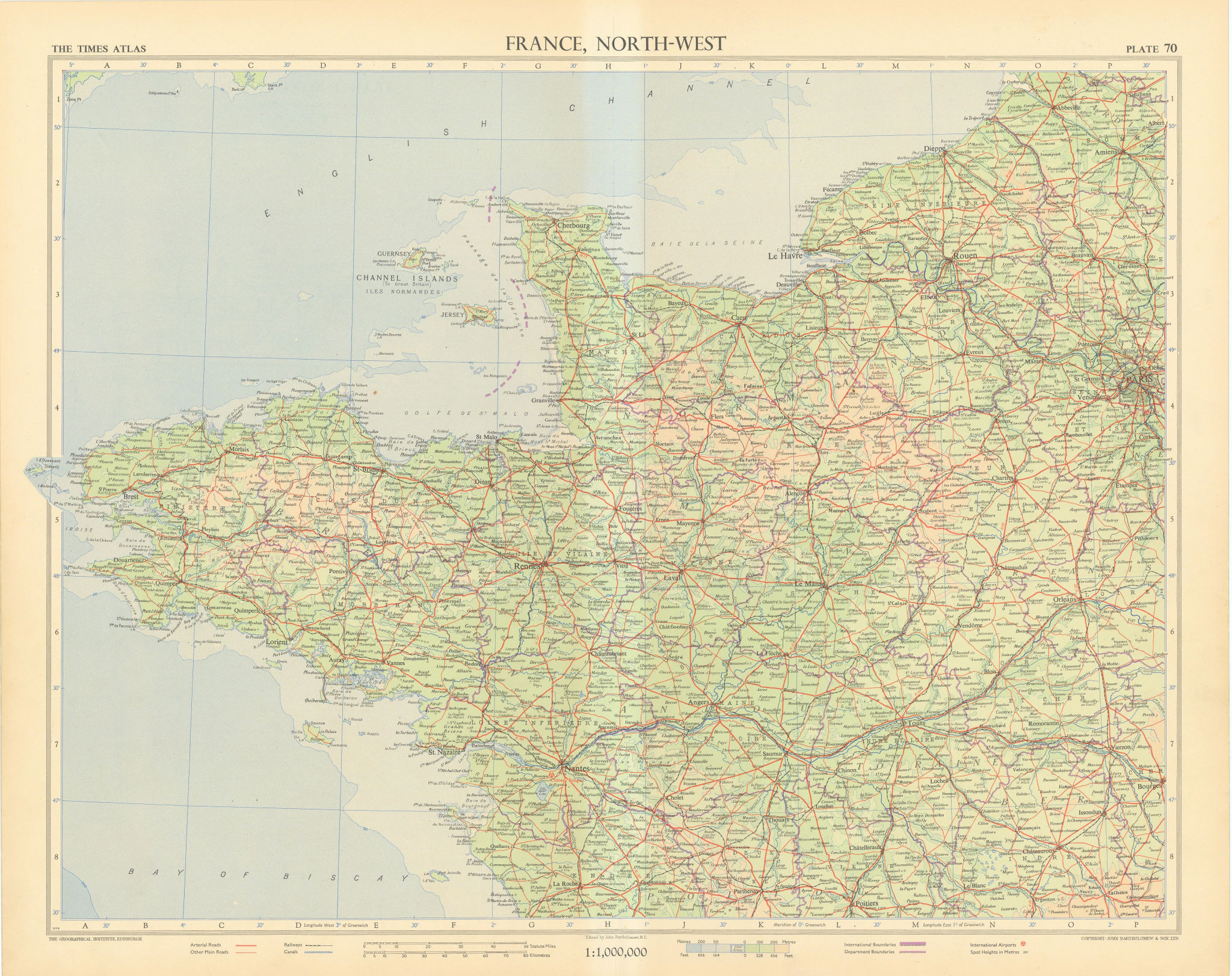 France north-west. Normandy Brittany Pays de Loire. TIMES 1955 old vintage map