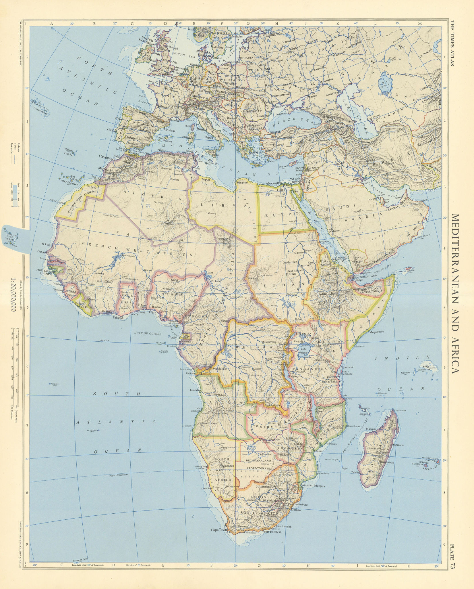 Africa. French Equatorial Africa. Rhodesia. Belgian Congo. TIMES 1956 old map
