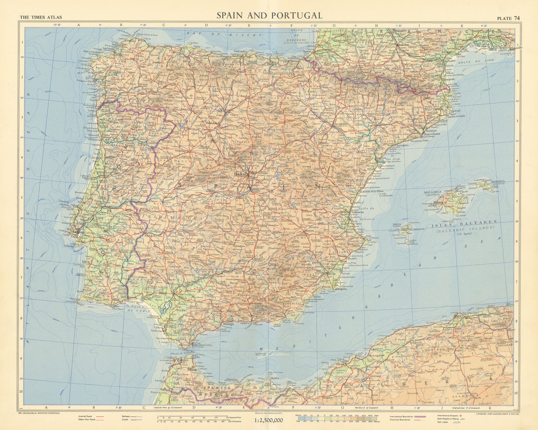 Spain Portugal Iberia Spanish Morocco. Tangier International Zone TIMES 1956 map