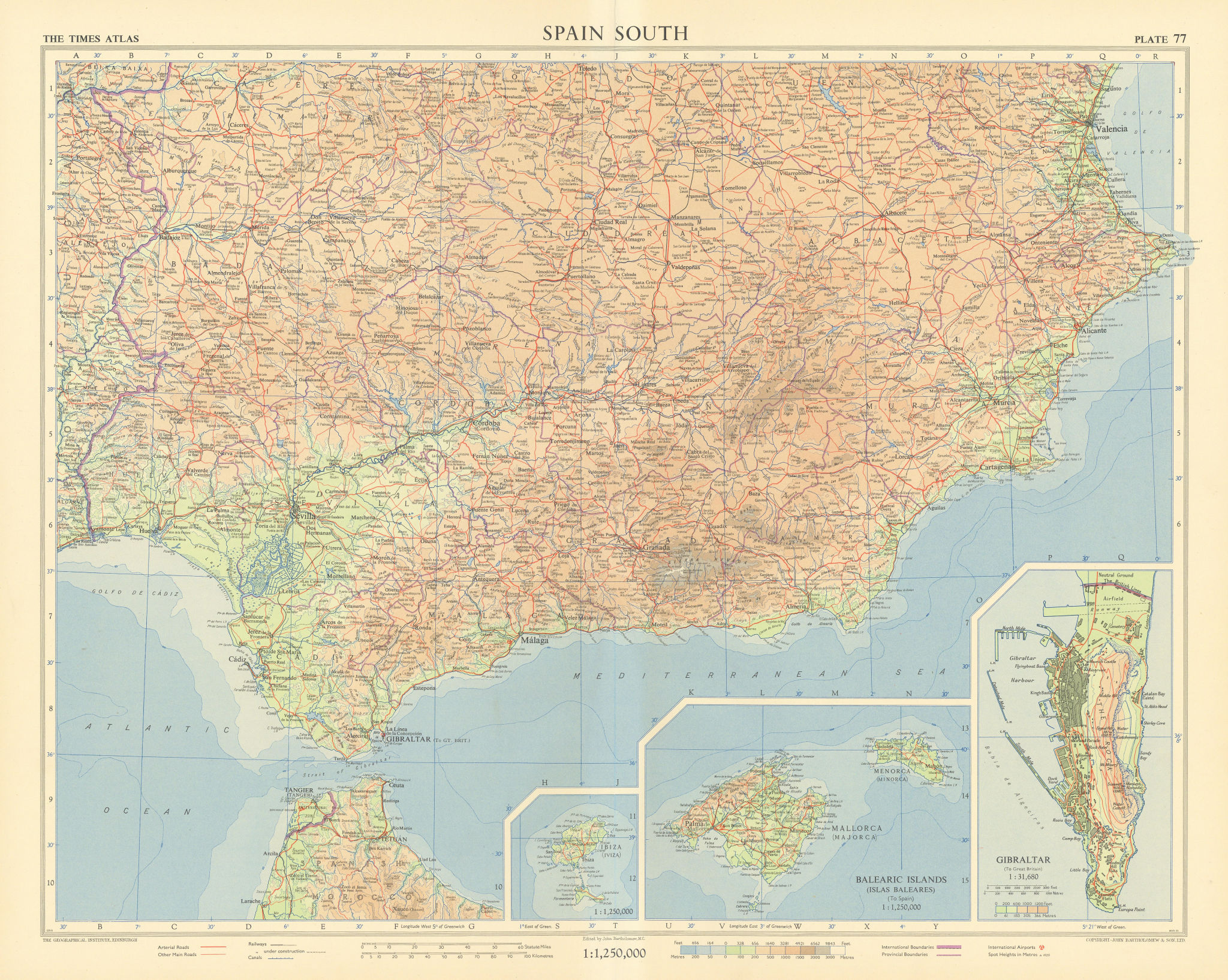 Spain south. Andalucia. Tangier International Zone. Gibraltar. TIMES 1956 map