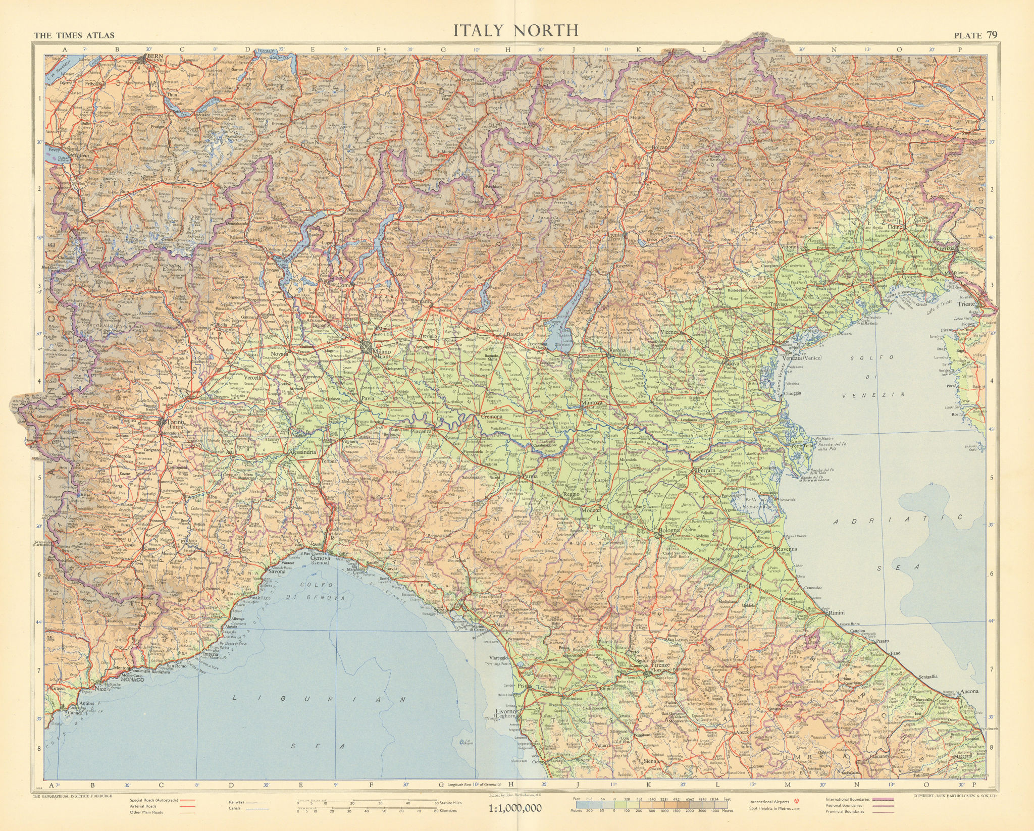 Italy north. Road network Autostrade. TIMES 1956 old vintage map plan chart