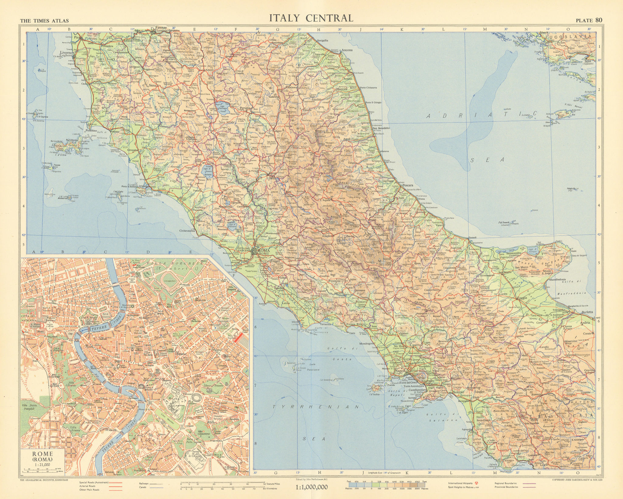 Italy central. Rome plan. Road network Autostrade. TIMES 1956 old vintage map