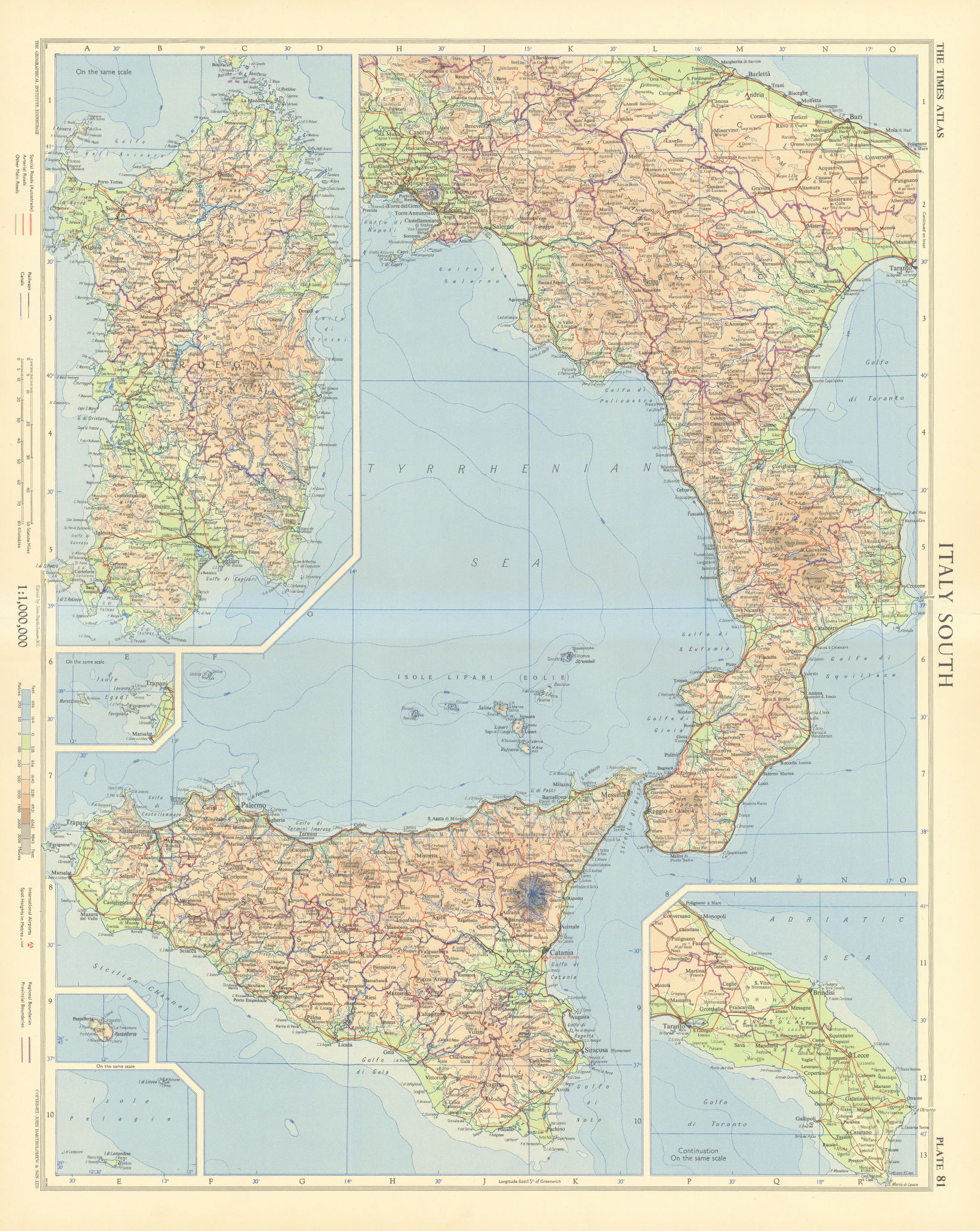 Italy south. Road network. Autostrade. TIMES 1956 old vintage map plan chart