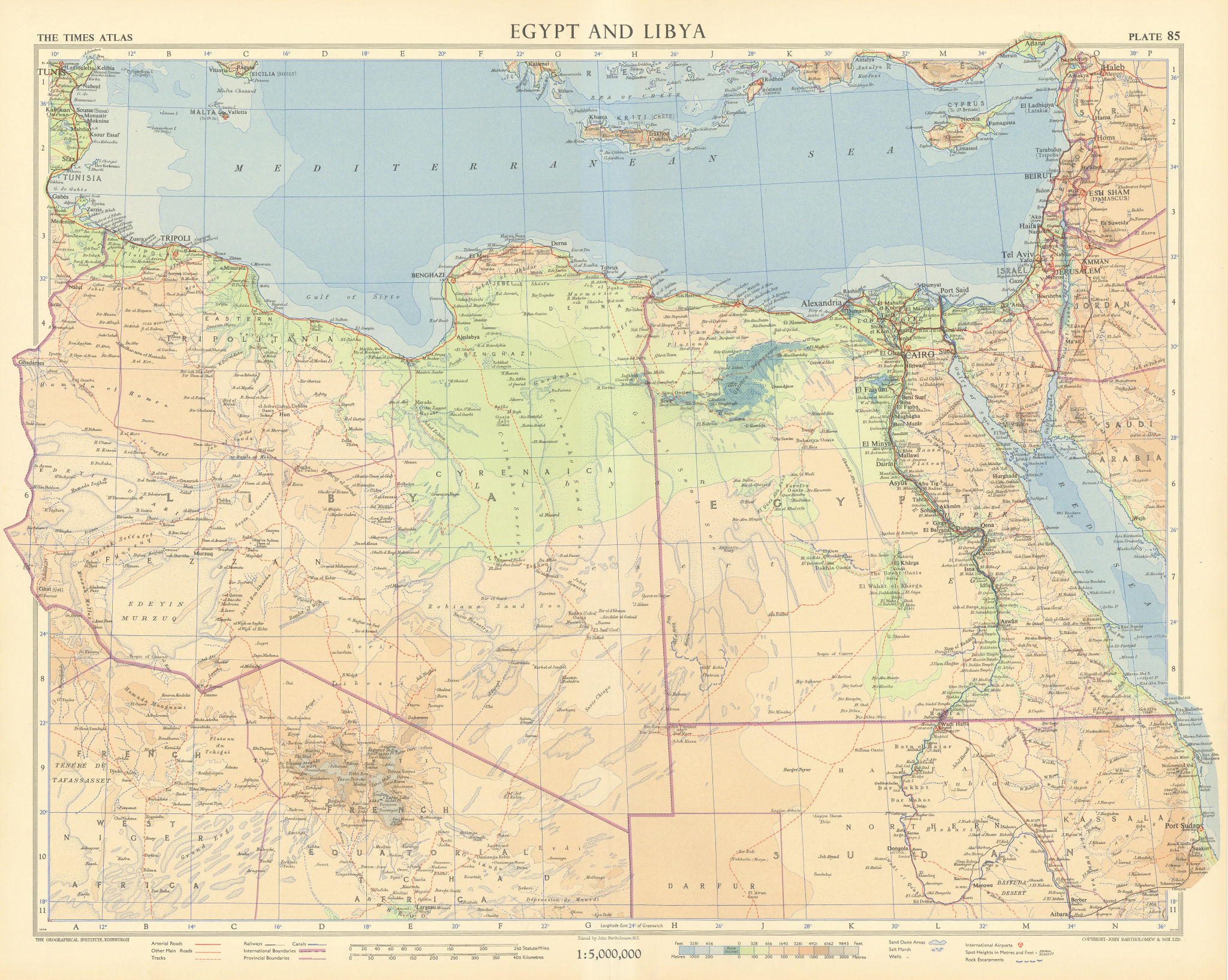 Egypt and Libya. Sand dune areas & desert tracks. North Africa. TIMES 1956 map