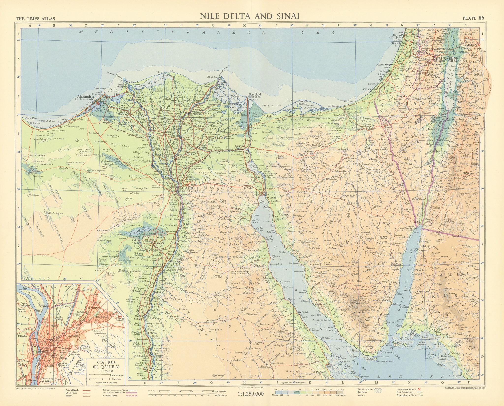 Nile Delta and Sinai. Cairo plan. Egypt. Eilat. Sharm el Sheikh. TIMES 1956 map